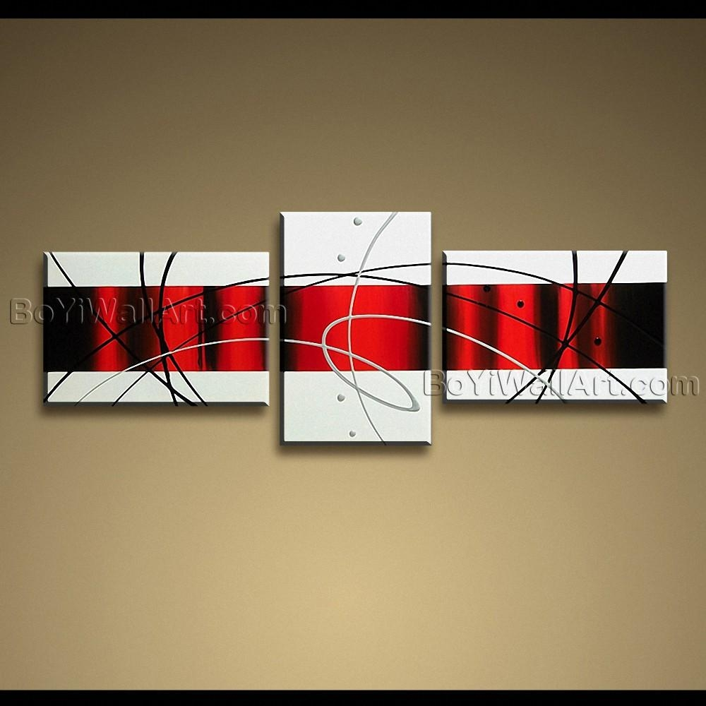 Handmade Painting On Canvas Red White Black Abstract Modern Wall Art inside Black And White Wall Art With Red