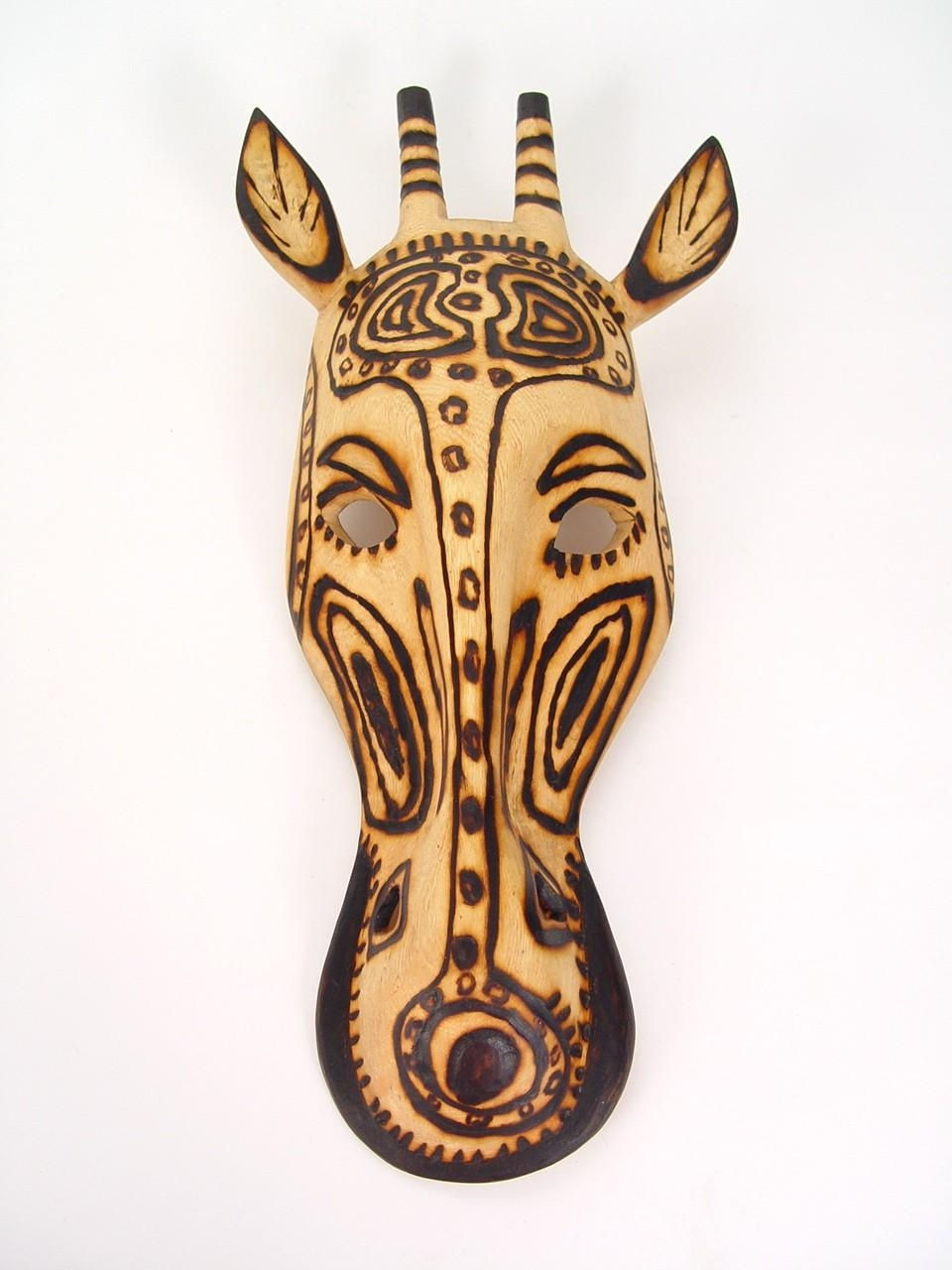 Handmade Wall Masks  Metal Wall Art   Wooden Giraffe Mask Pertaining To African Metal Wall Art (Image 12 of 20)