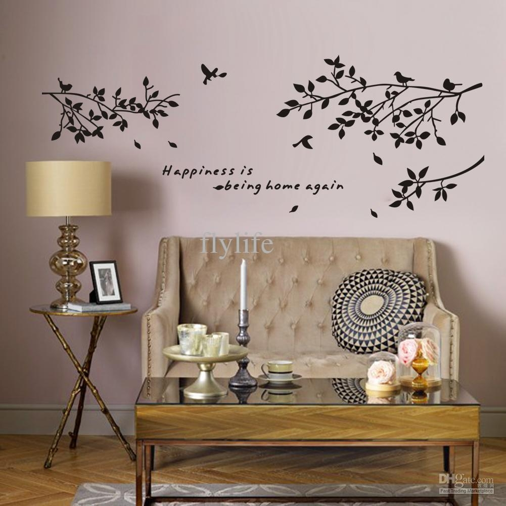 Happiness Is Being Home Again Vinyl Quotes Wall Stickers And Black Inside Vinyl Wall Art Tree (View 7 of 20)