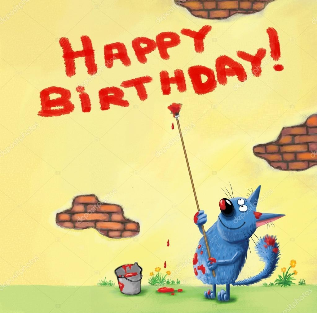 Happy Birthday Card Cat Writing On The Wall — Stock Photo For Happy Birthday Wall Art (Image 10 of 20)