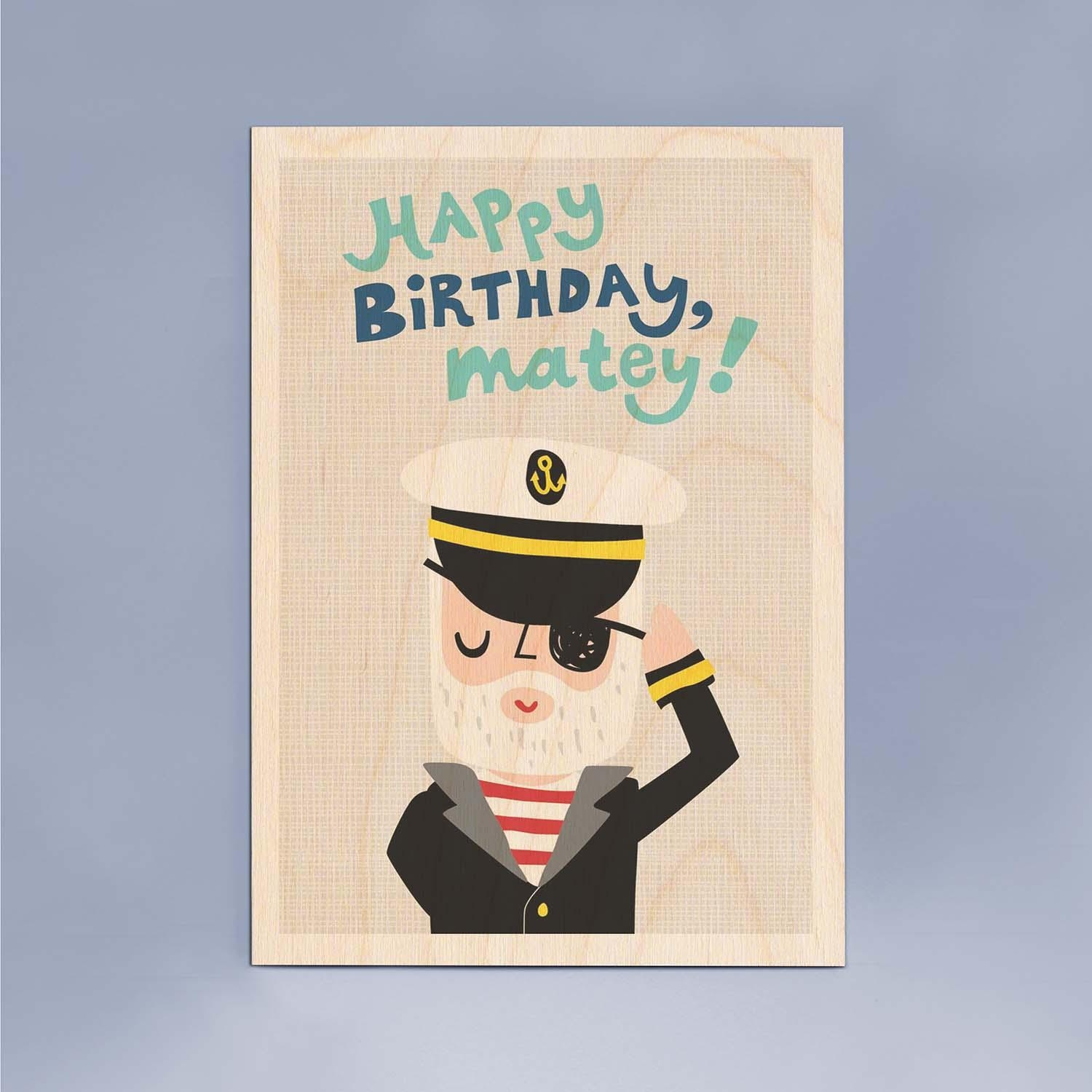 Happy Birthday Matey Wooden Timbergram Wall Art – Wooden Postcards In Happy Birthday Wall Art (Image 11 of 20)