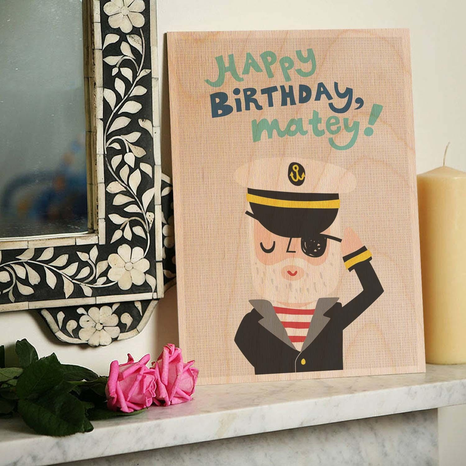 Happy Birthday Matey Wooden Timbergram Wall Art – Wooden Postcards Inside Happy Birthday Wall Art (Image 12 of 20)