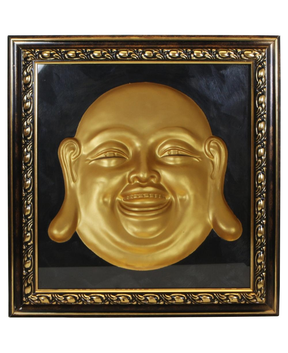 Happy Buddha Concave Wall Sculpture throughout 3D Buddha Wall Art