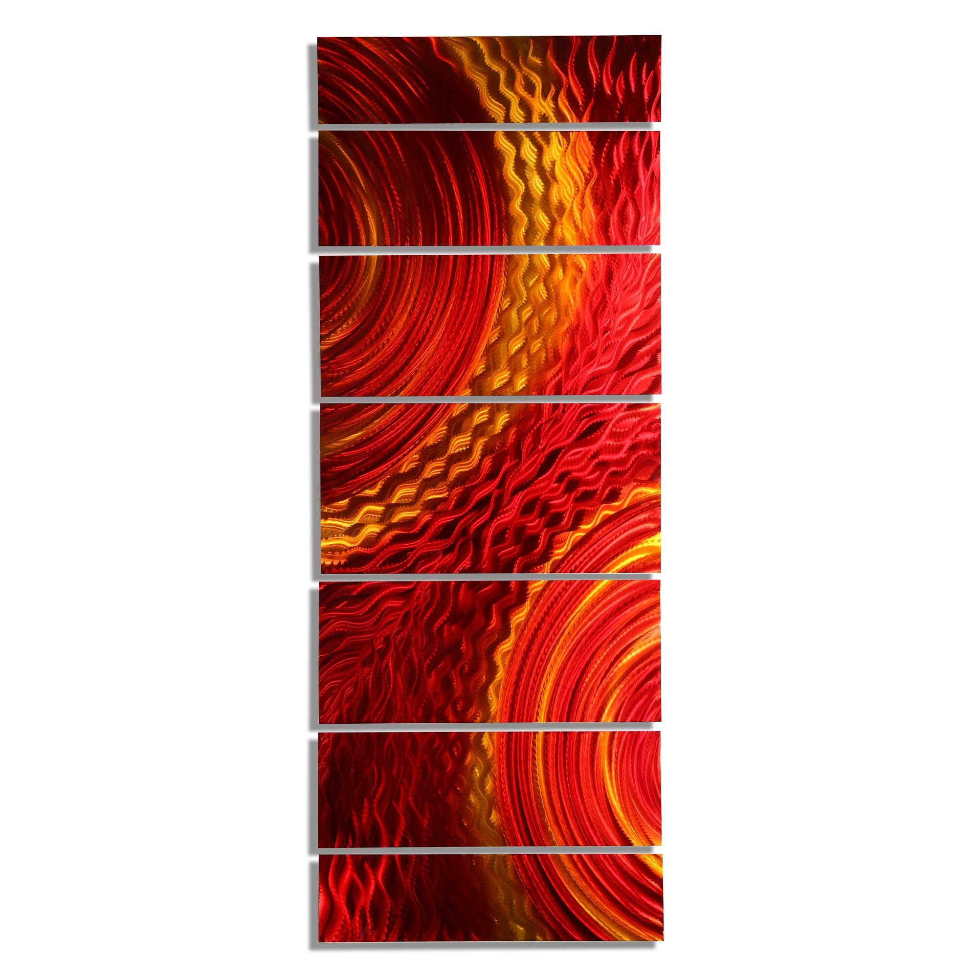 Harvest Moods – Dynamic Red & Gold Modern Metal Wall Sculpture Inside Rectangular Metal Wall Art (Image 7 of 20)