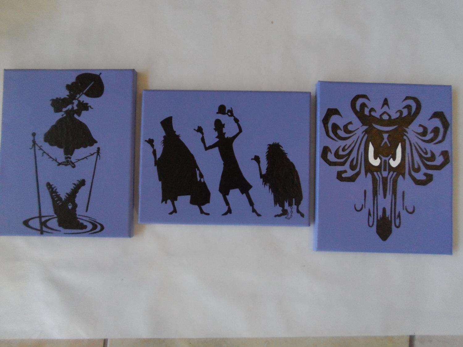 Haunted Mansion Hand Painted Canvas / Wall Art / Set Of 3 Throughout Disney Canvas Wall Art (View 10 of 20)