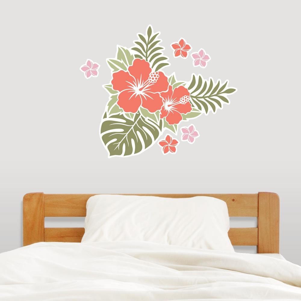 Hawaiian Flowers Wall Decal Sticker Throughout Hawaiian Wall Art (Image 8 of 20)