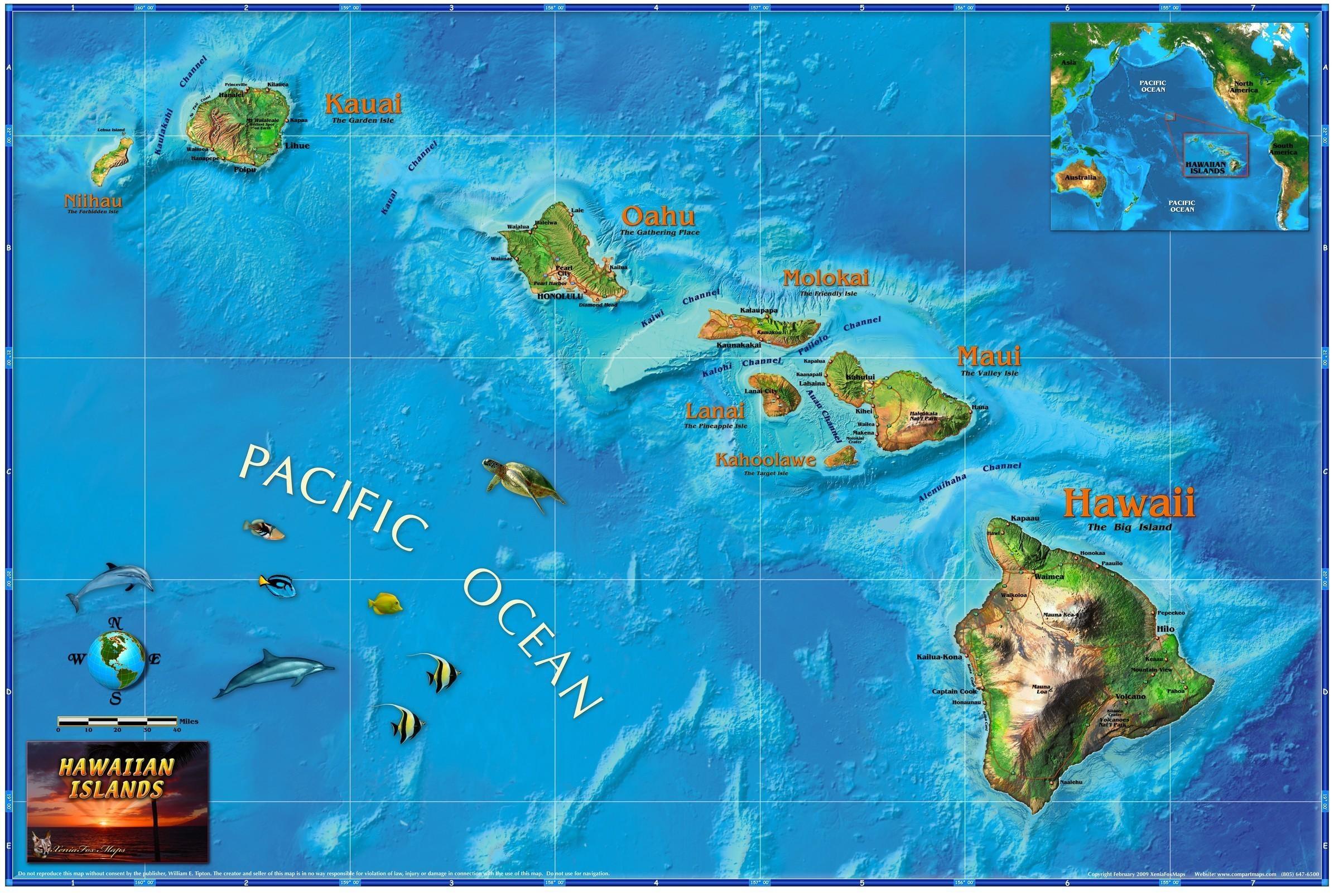 Hawaiian Islands Wall Map – Maps Regarding Hawaiian Islands Wall Art (Image 6 of 20)
