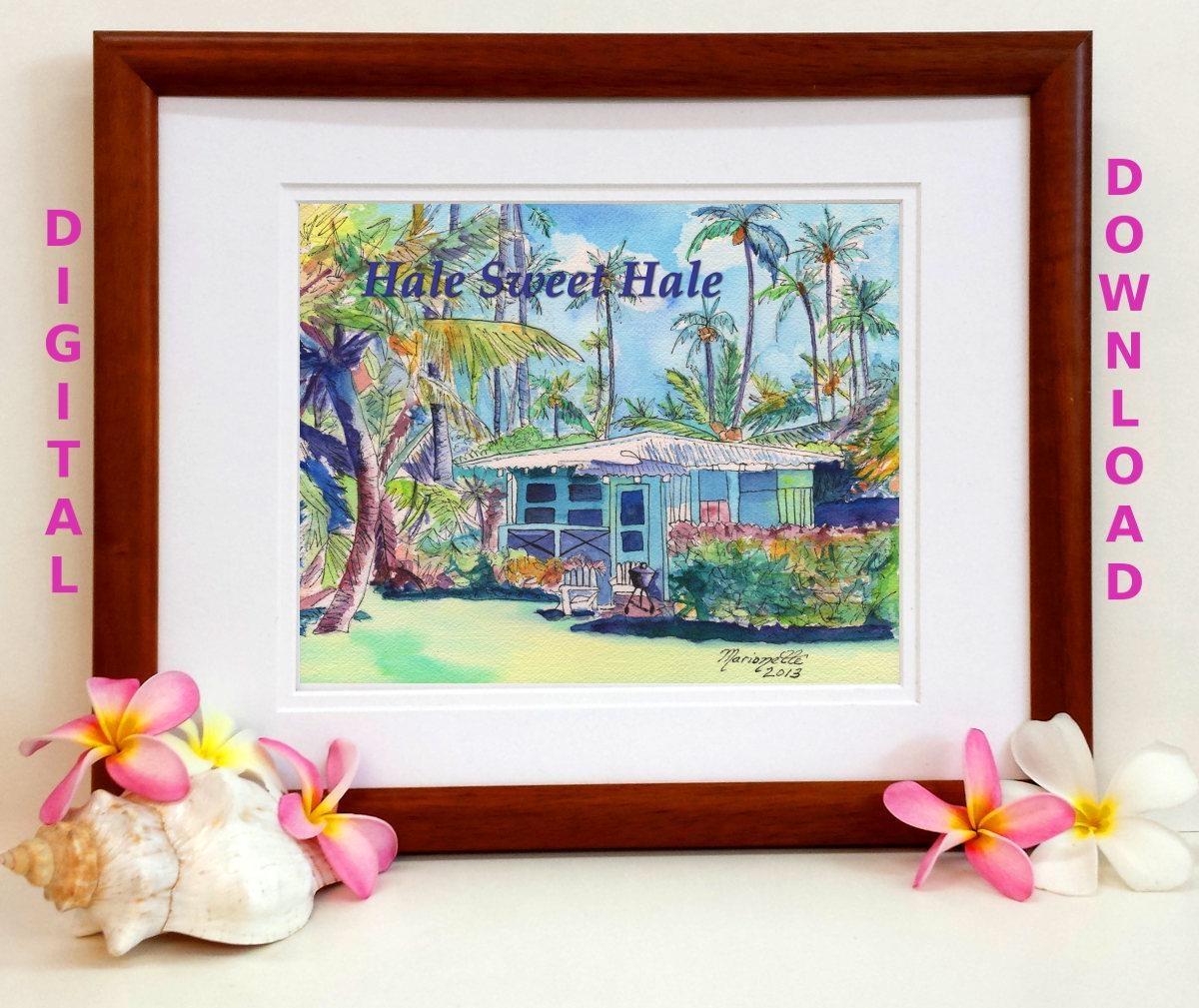 Hawaiian Quotes Digital Art Prints 8X10 And 5X7 Printable Wall Art throughout Hawaiian Wall Art Decor