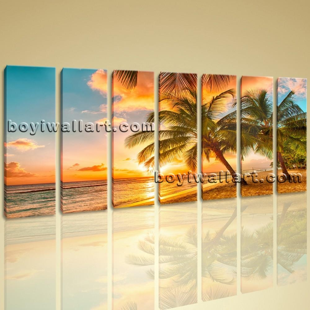 Hd Canvas Print 7 Pieces Framed Beach Wall Art Palm Tree Sunset With Regard To Beach Wall Art (Image 13 of 20)