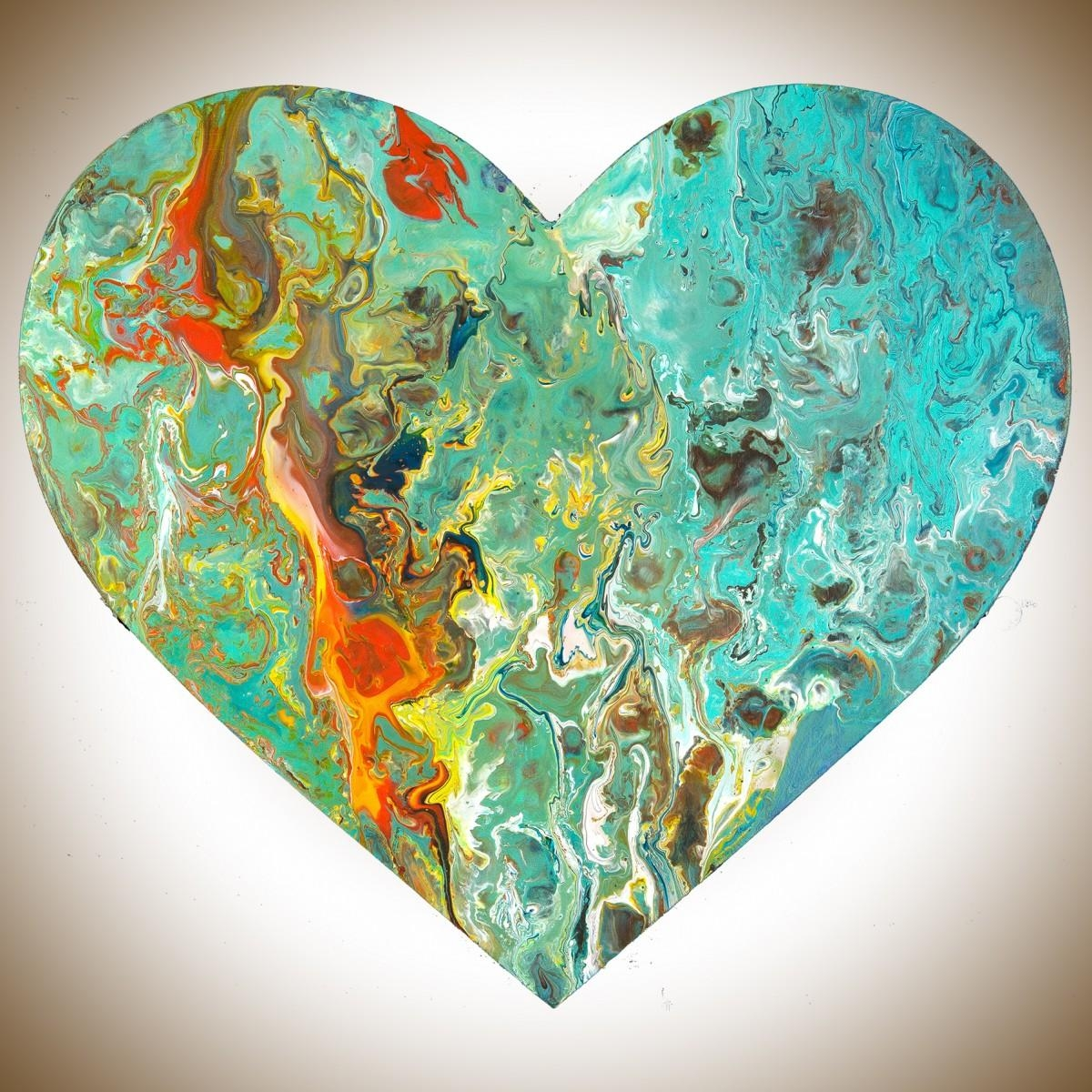 """Heart 8Qiqigallery 9""""x9"""" Heart Shaped Painting Wooden Heart Within Red And Turquoise Wall Art (Image 13 of 20)"""