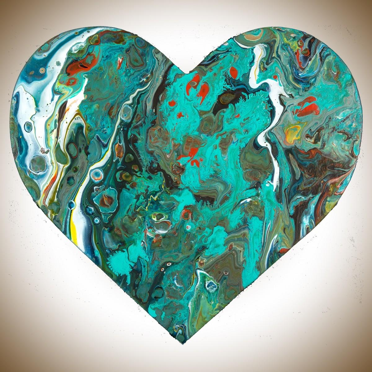 """Heart 9Qiqigallery 9""""x9"""" Heart Shaped Painting Wooden Heart With Regard To Red And Turquoise Wall Art (Image 14 of 20)"""