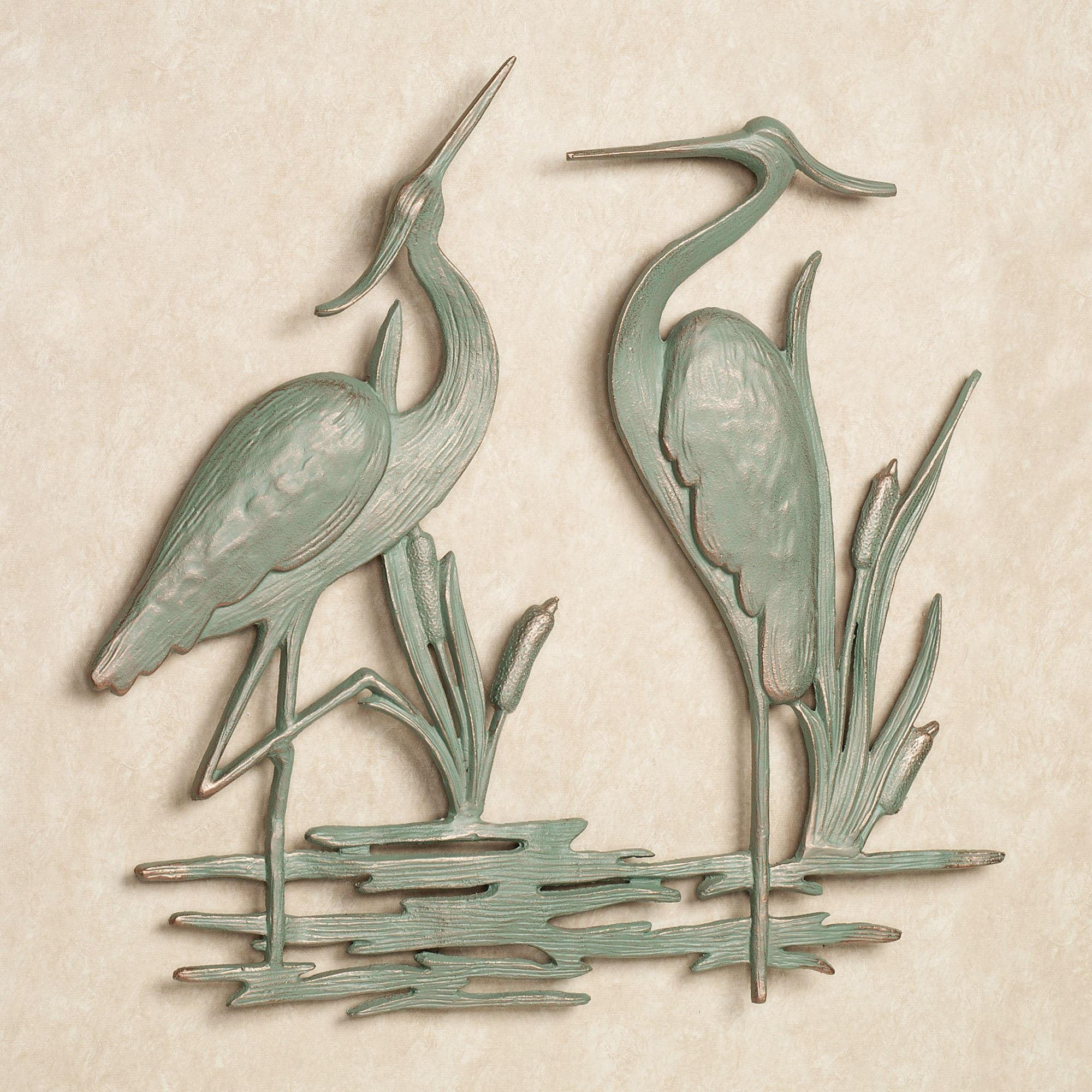 Heron Indoor Outdoor Metal Wall Art intended for Outside Wall Art