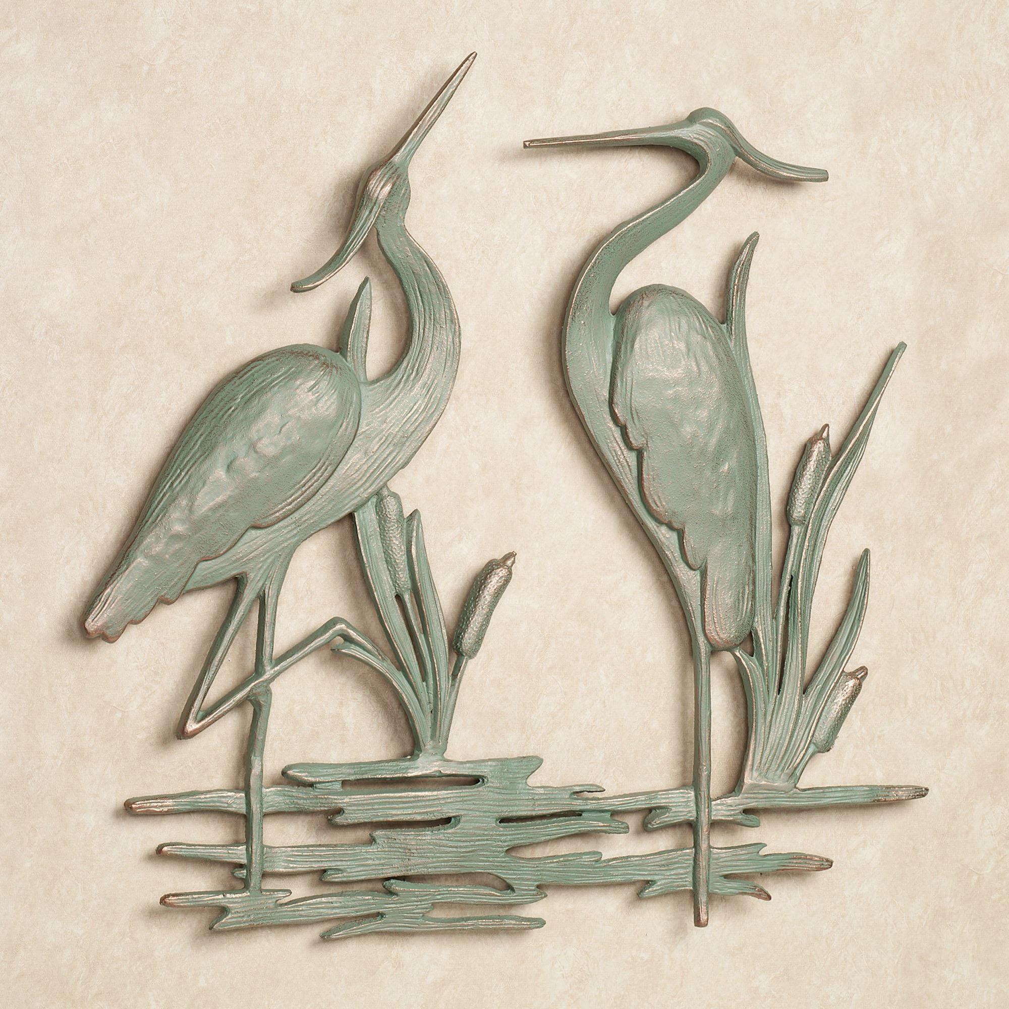 Heron Indoor Outdoor Metal Wall Art With Outdoor Wall Sculpture Art (Image 7 of 20)