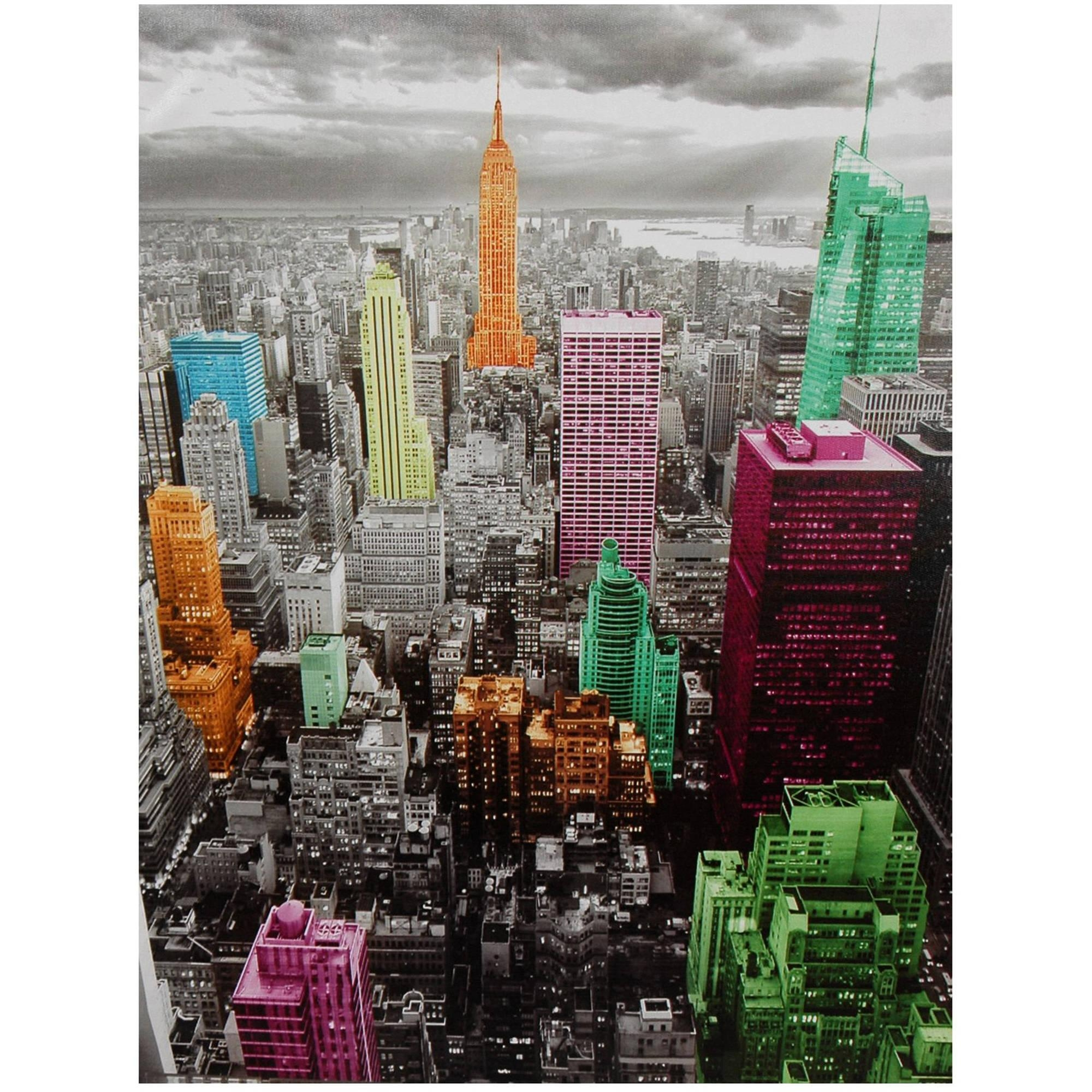 High Lights Of New York Skyline Canvas Wall Art – Walmart Intended For New York Skyline Canvas Black And White Wall Art (Image 6 of 20)