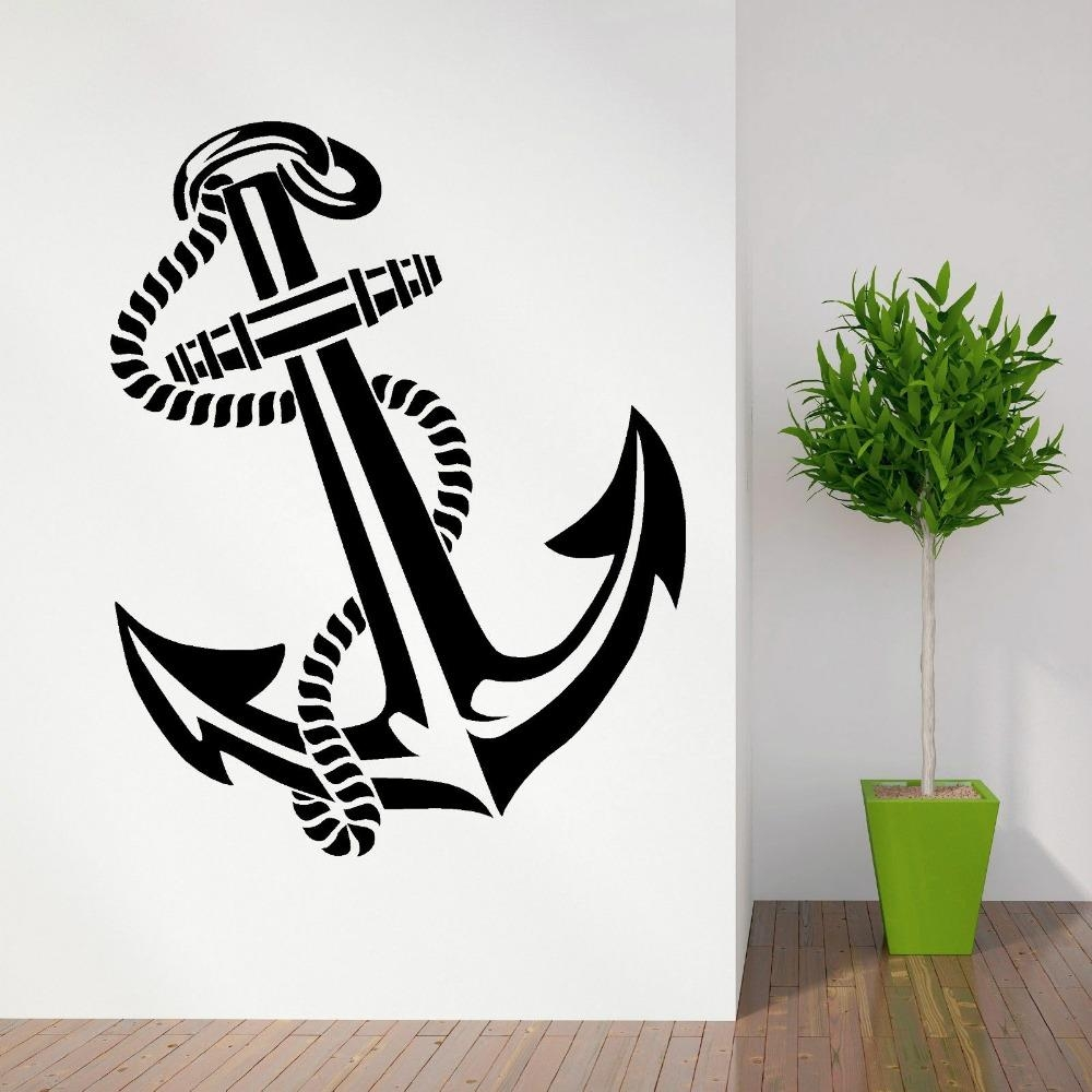 High Quality Anchor Retro Vintage Tattoo Ships Vinyl Wall Art For Tattoo Wall Art (View 10 of 20)