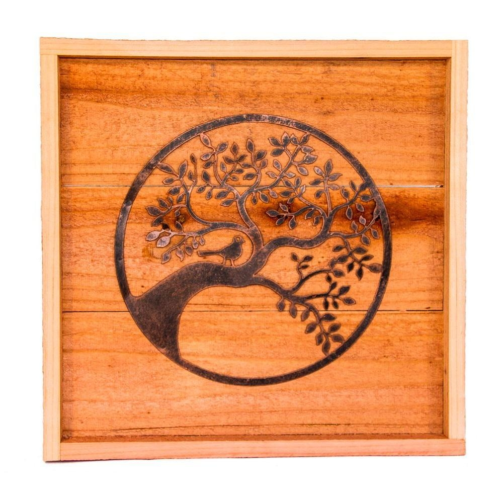 Hollis Wood Products 18 In. X 18 In. Wood Wall Art With Oak Tree with Oak Tree Wall Art
