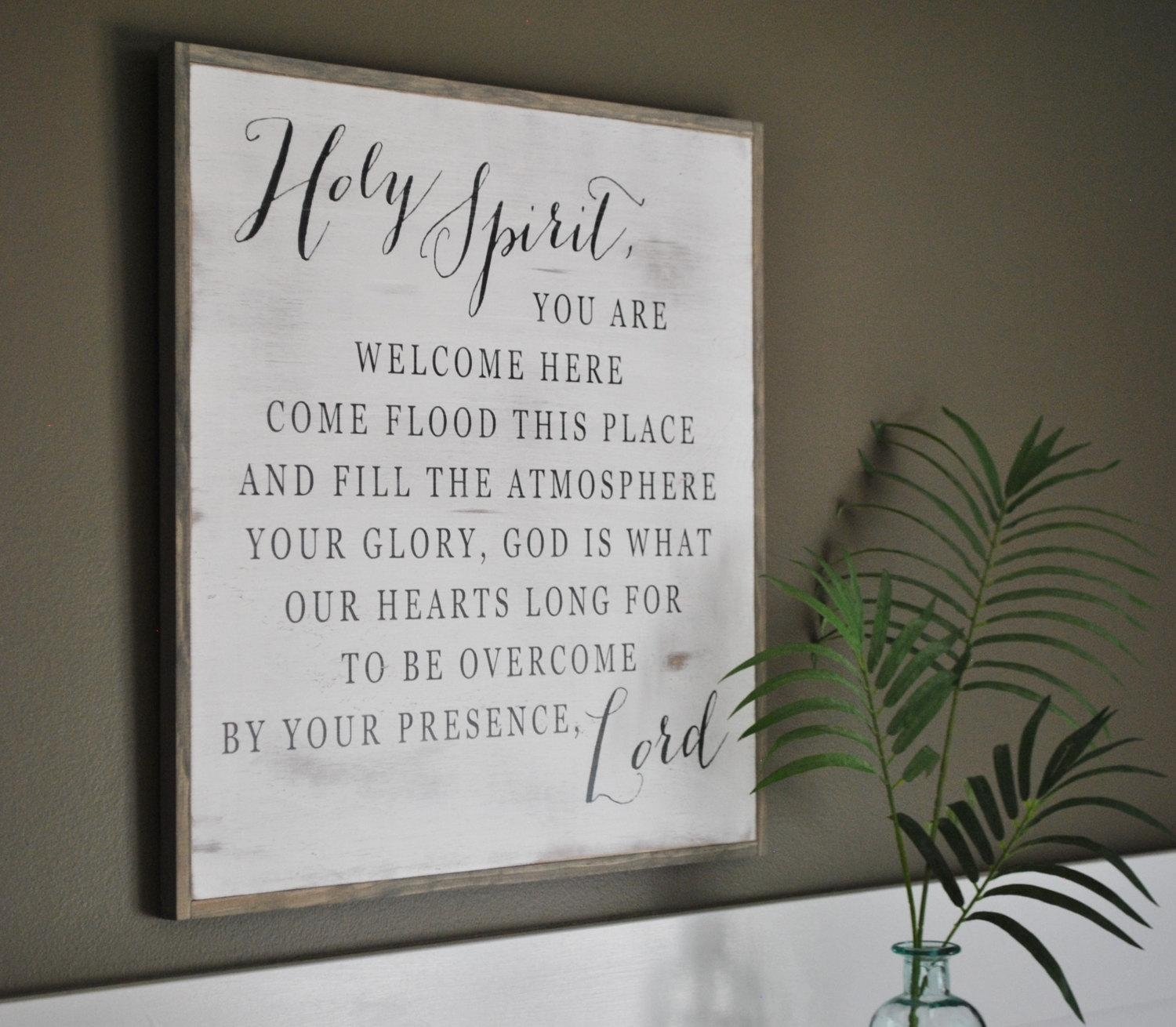 Holy Spirit 2'x2' || Inspirational Wall Art || Distressed Shabby Regarding Inspirational Wall Plaques (Image 2 of 20)