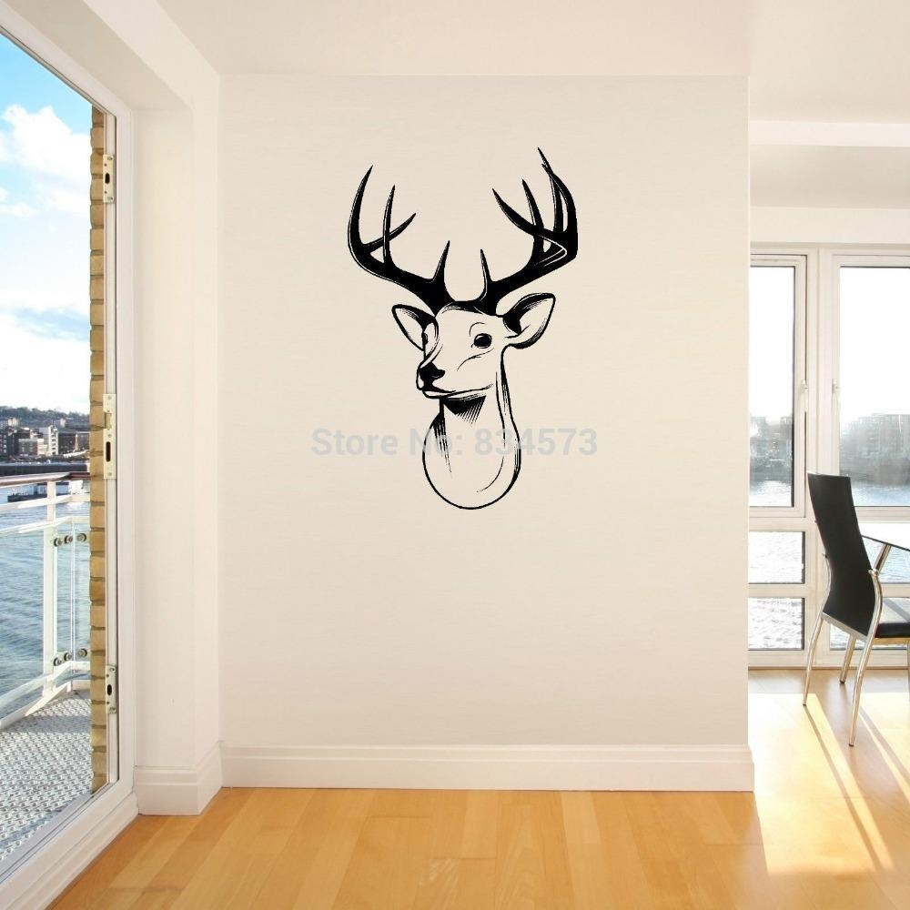 Home Decor Wall Sticker Stags Head Deer Trophy Antlers Steer Wall For Stags Head Wall Art (Image 10 of 20)