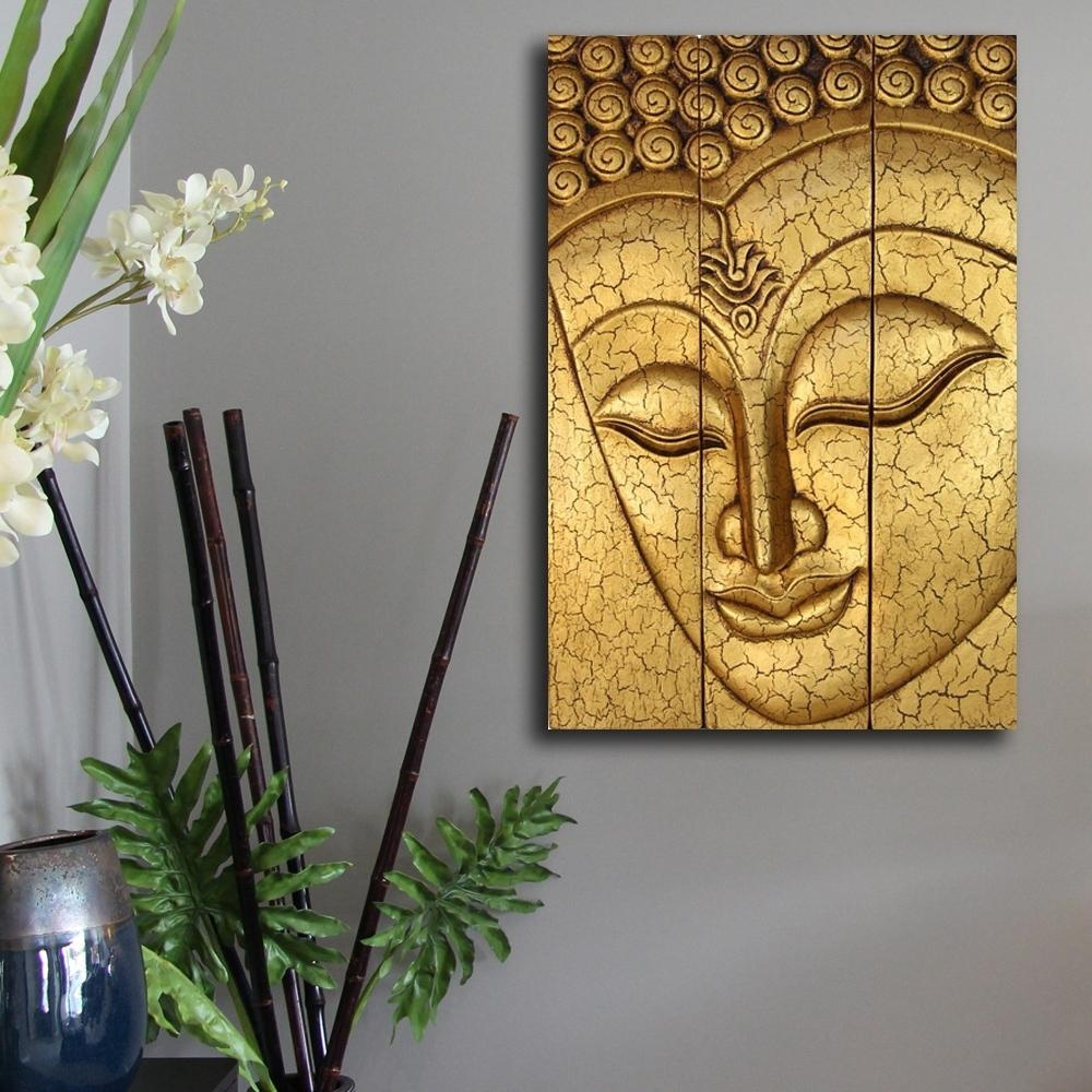 Home Design : Thai Buddha Face Statue Large Hand Carved Wooden Regarding Buddha Wooden Wall Art (Image 8 of 20)