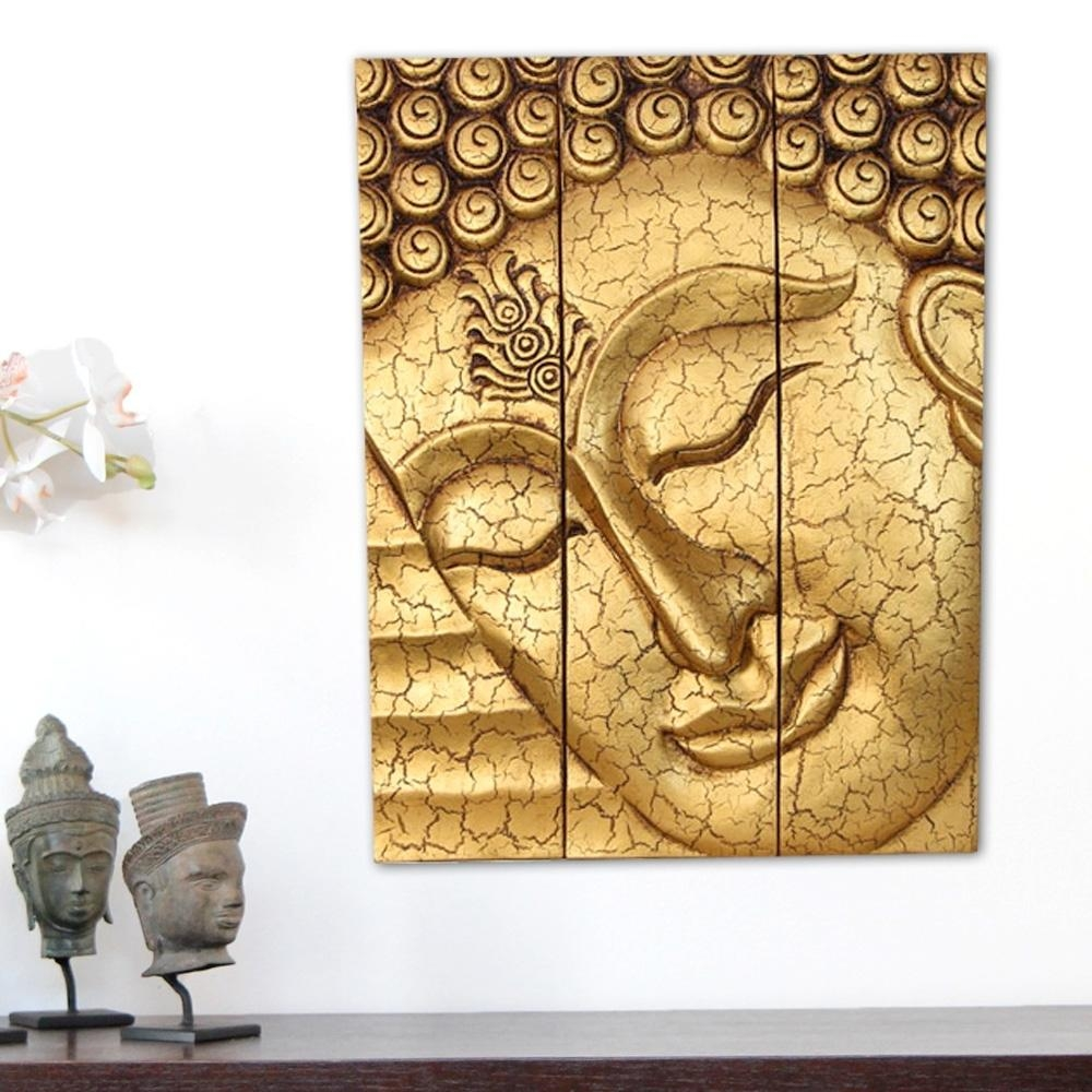 Home Design : Thai Buddha Face Statue Large Hand Carved Wooden With Regard To Buddha Wood Wall Art (Image 7 of 20)