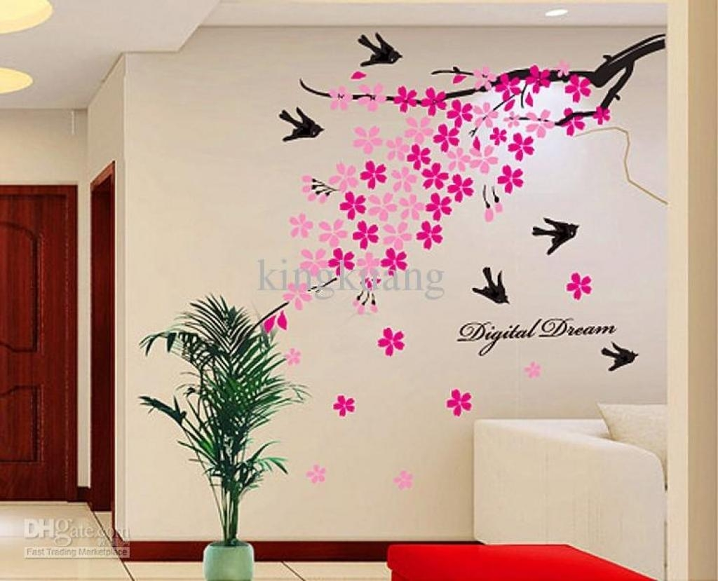 Home Design Wall Art Butterfly Design Floral Circle Wall Art within Butterflies Wall Art Stickers