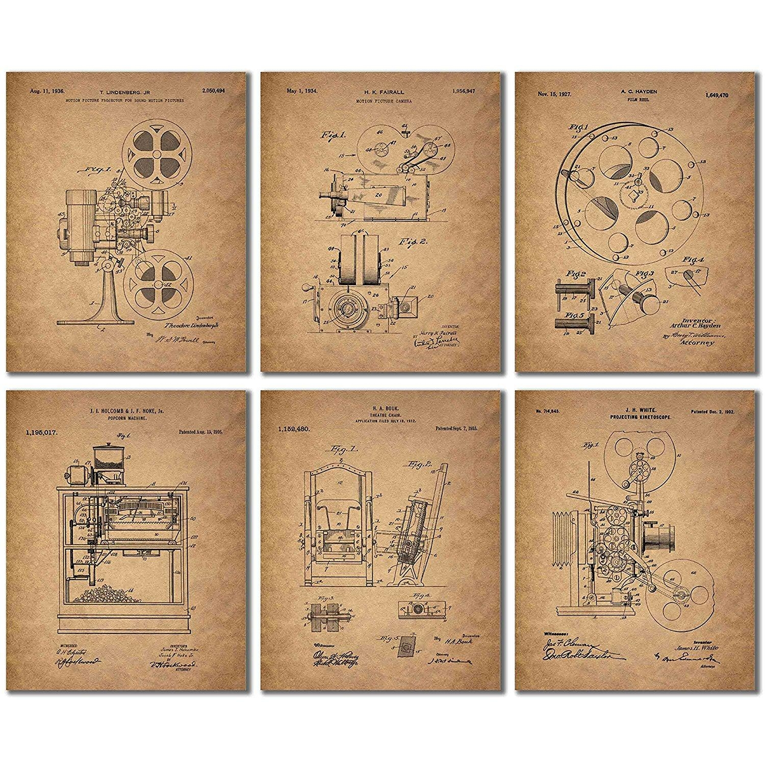 Home Theater Patent Wall Art Prints - Set Of Six Vintage Movie with Home Theater Wall Art