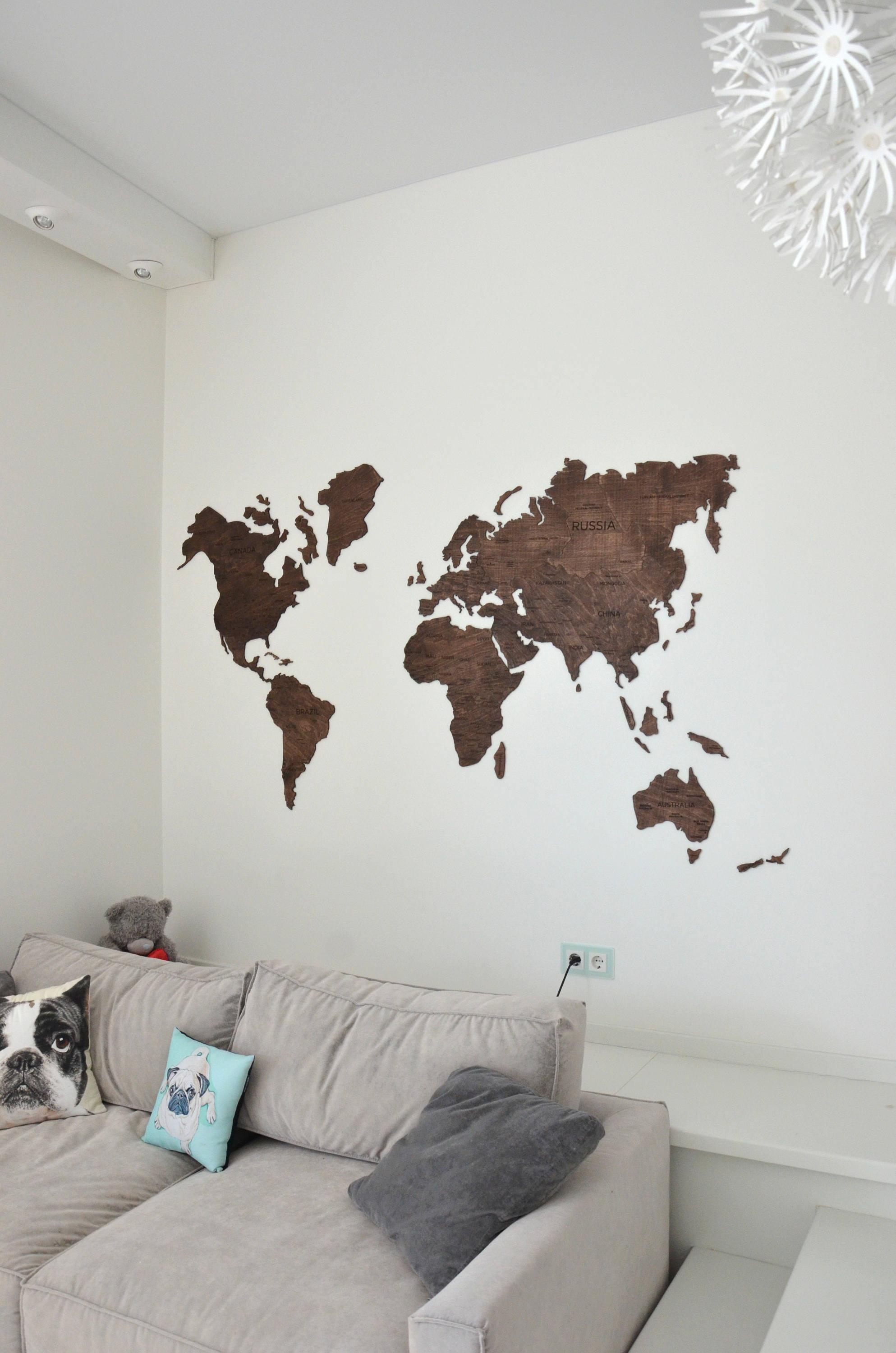Home Wall Art Wooden World Map Large Map Of The World Travel Regarding Wooden World Map Wall Art (Image 5 of 20)