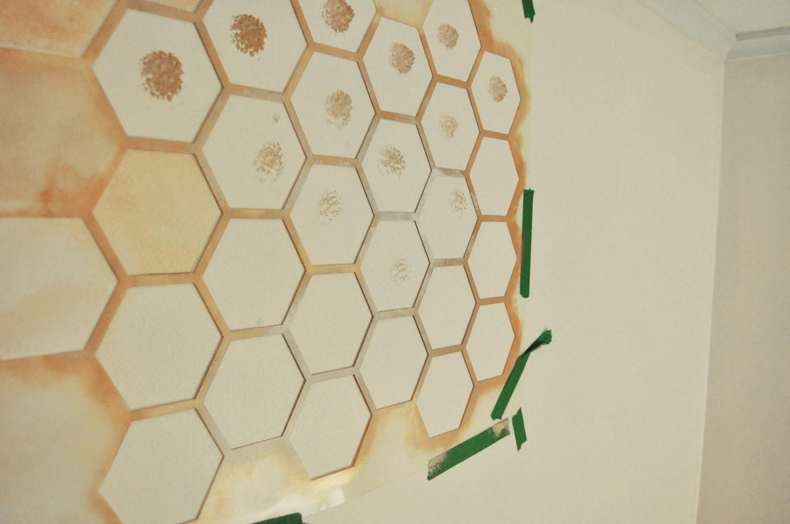 Honeycomb Wall Stencil Diy — Step 1 To A Girly Nursery! With Space Stencils For Walls (View 4 of 20)