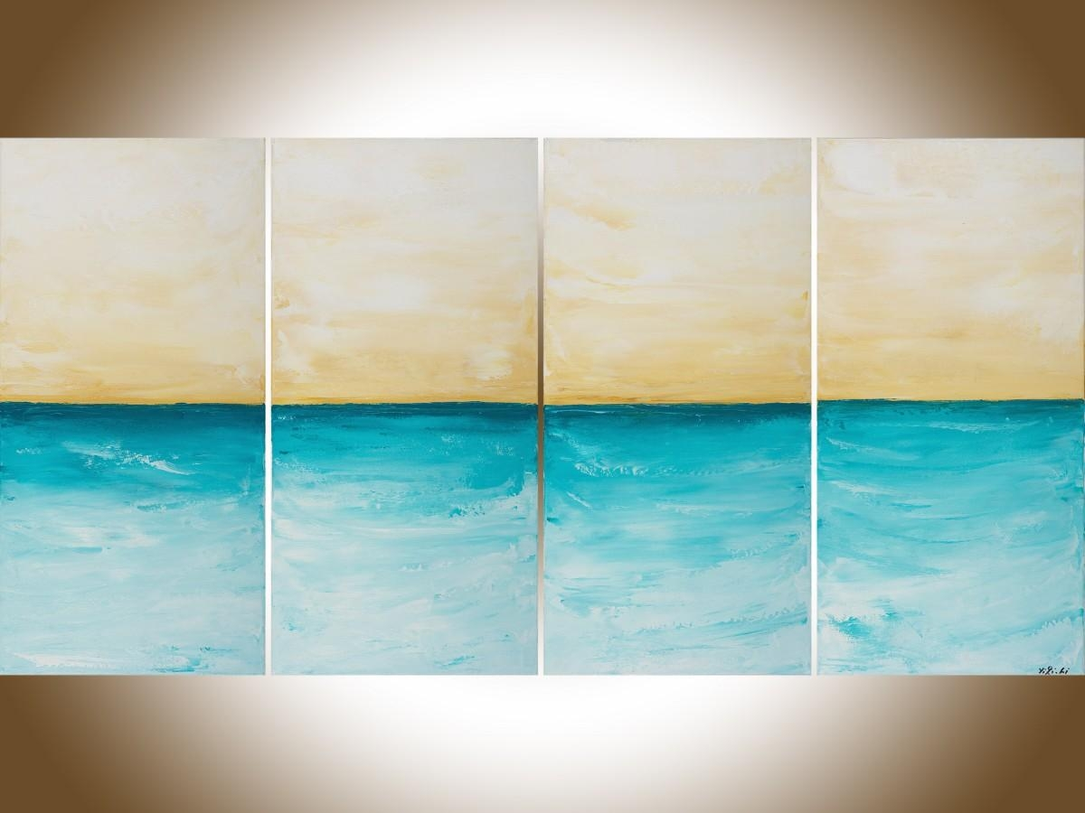 """Horizonqiqigallery 48"""" X 24"""" Abstract Seascape Painting Throughout Turquoise And Brown Wall Art (Image 10 of 20)"""