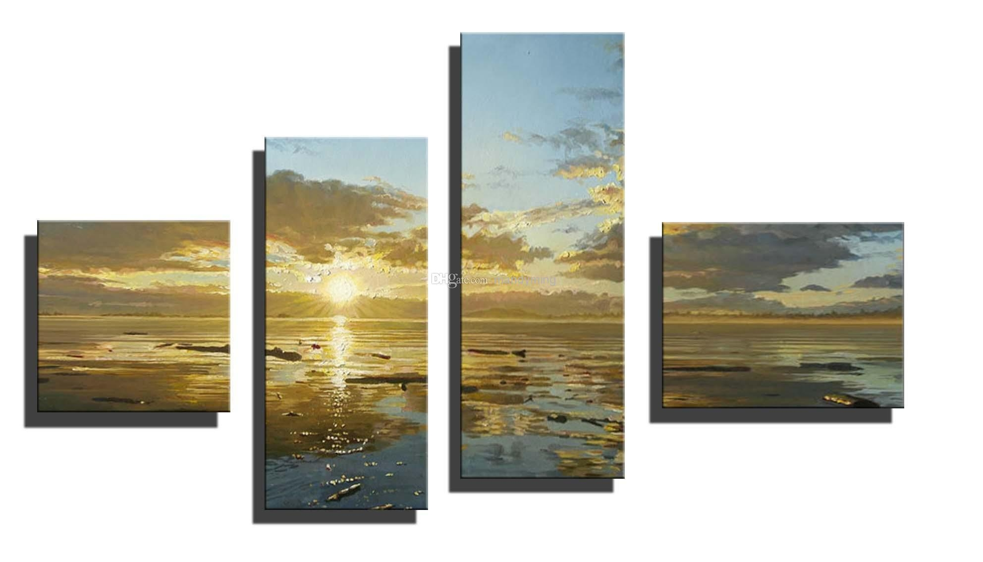 Horizontal Sun Landscape Oil Painting On Canvas River Cloudscape Throughout Horizontal Canvas Wall Art (Image 11 of 20)