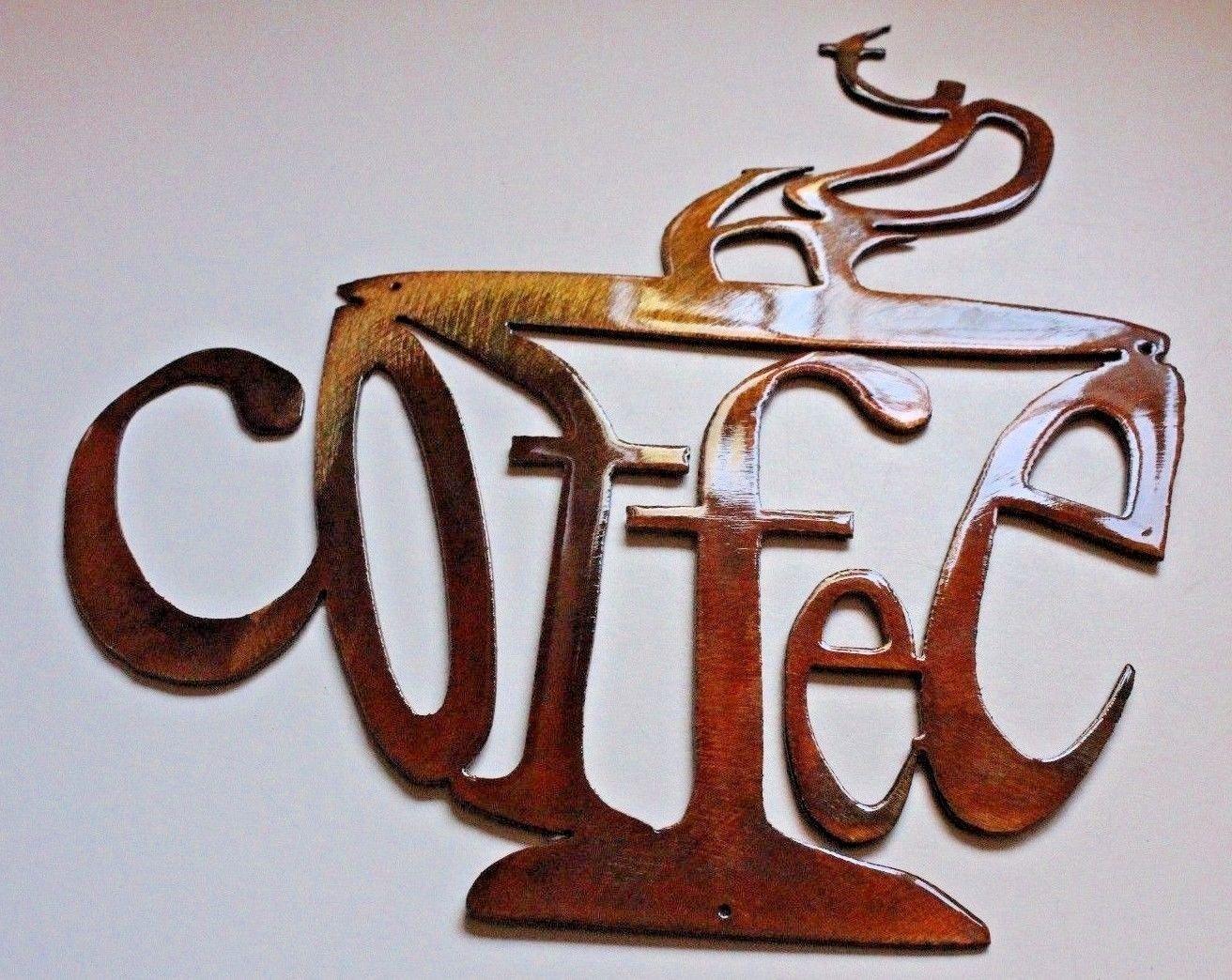 "Hot Coffee Cup Metal Wall Art Decor 9 3/4"" Tall • $15.99 - Picclick regarding Metal Coffee Cup Wall Art"