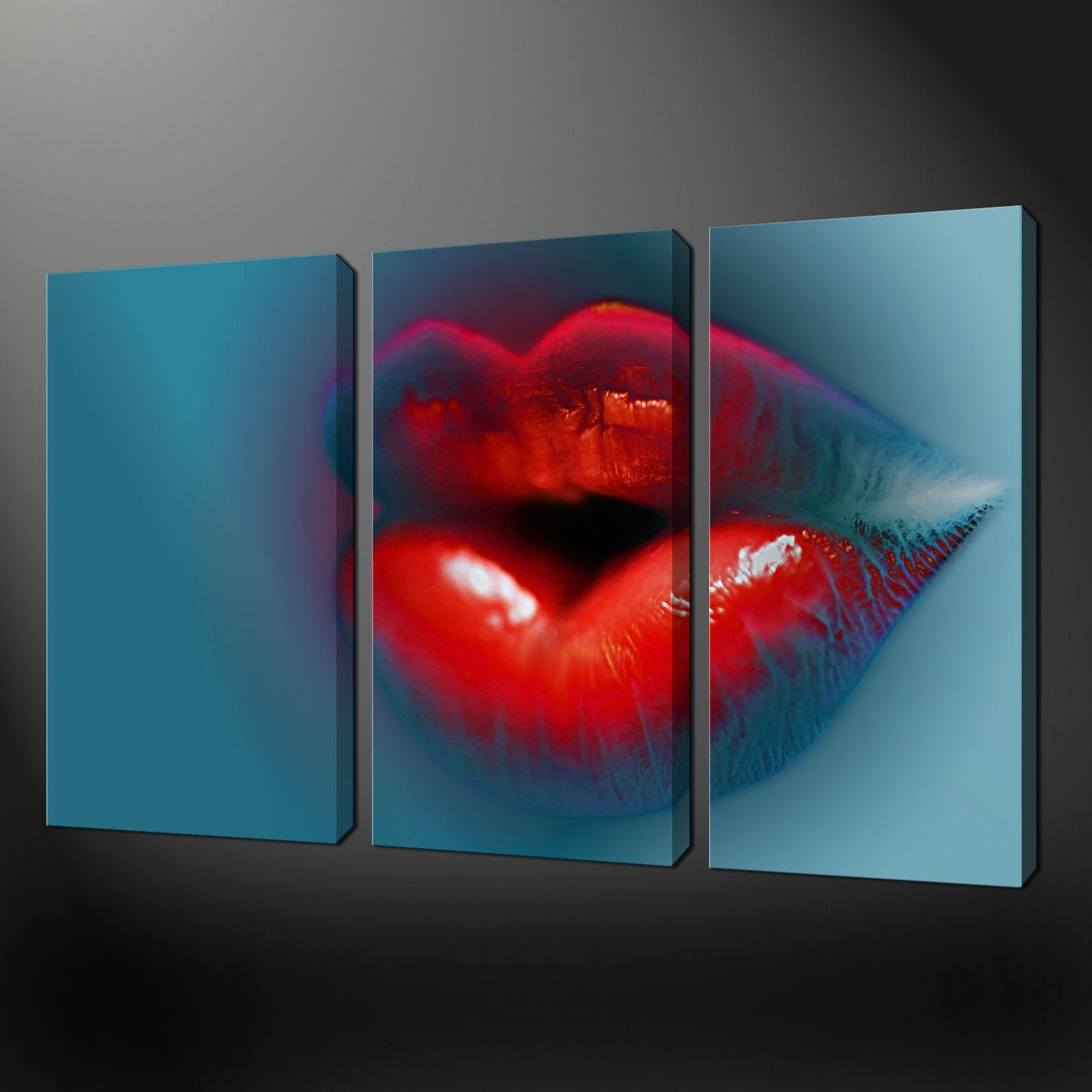 Hot Lips Abstract Three Panels Split Canvas Wall Art Pictures with Split Wall Art