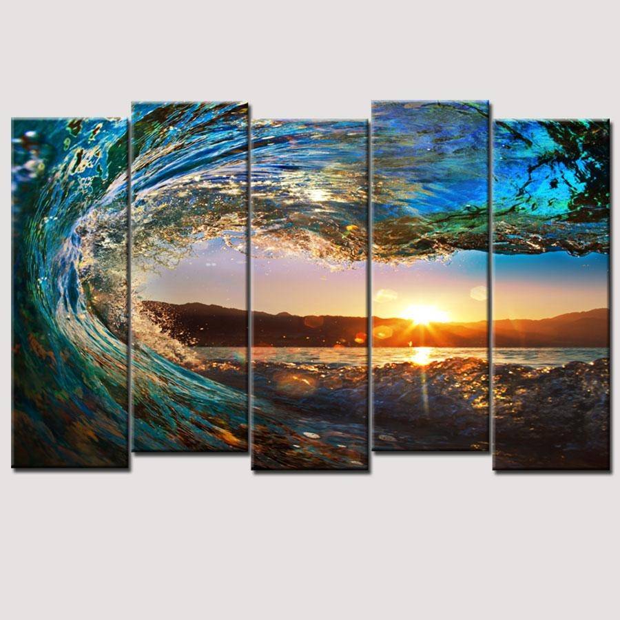 Hot Sell 5 Piece Large Canvas Wall Art Huge Wave Painting Modern In Huge Canvas Wall Art (Image 14 of 20)