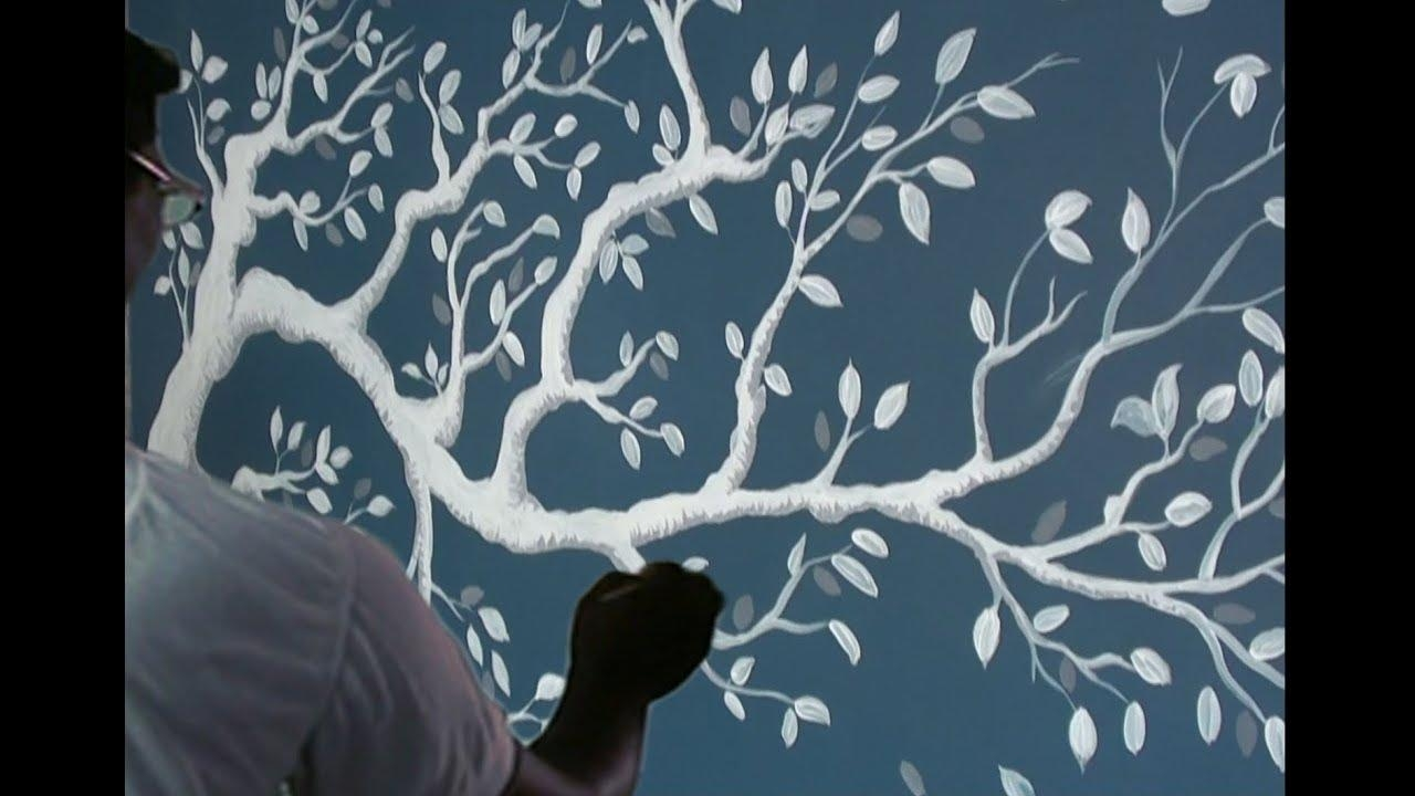How To 3D Tree Paint On The Wall | Paint With Dilip Art – Youtube For 3D Tree Wall Art (Image 7 of 20)