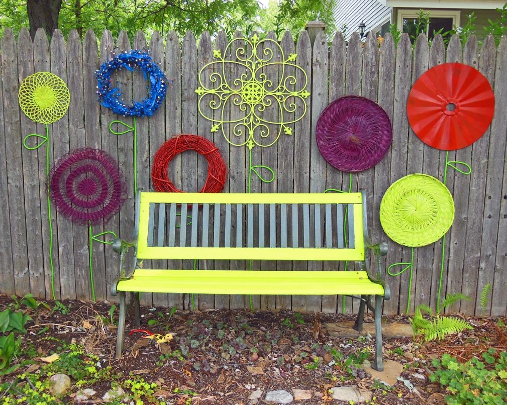 How To Make A Recycled Garden Fence Flower Folk Art Display pertaining to Garden Wall Art