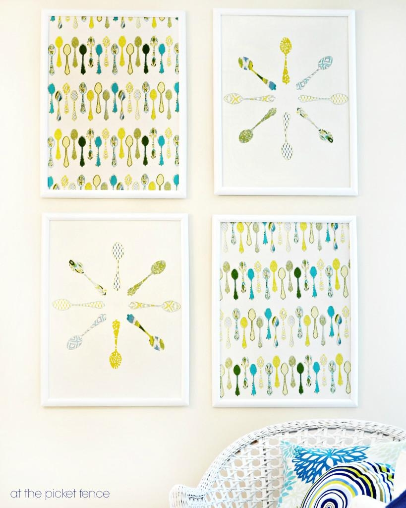 How To Make Framed Fabric Wall Art With Target Kitchen Towels In Framed Fabric Wall Art (Image 17 of 20)