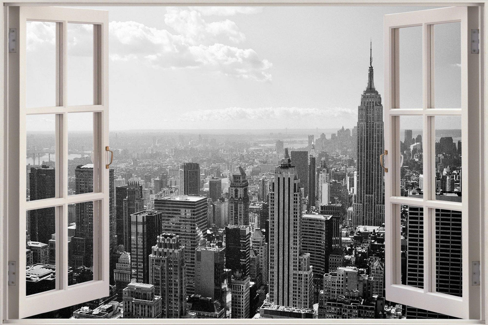 Huge 3D Window New York City View Wall Stickers Mural Film Art Intended For New York City Wall Art (View 20 of 20)