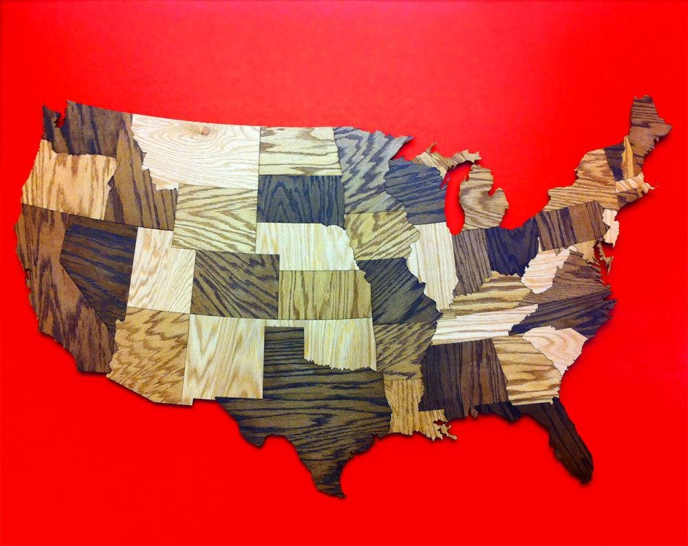 Huge 5' Wood Usa Map Wall Decoration Sculpture Rustic Pertaining To United States Map Wall Art (Image 9 of 21)