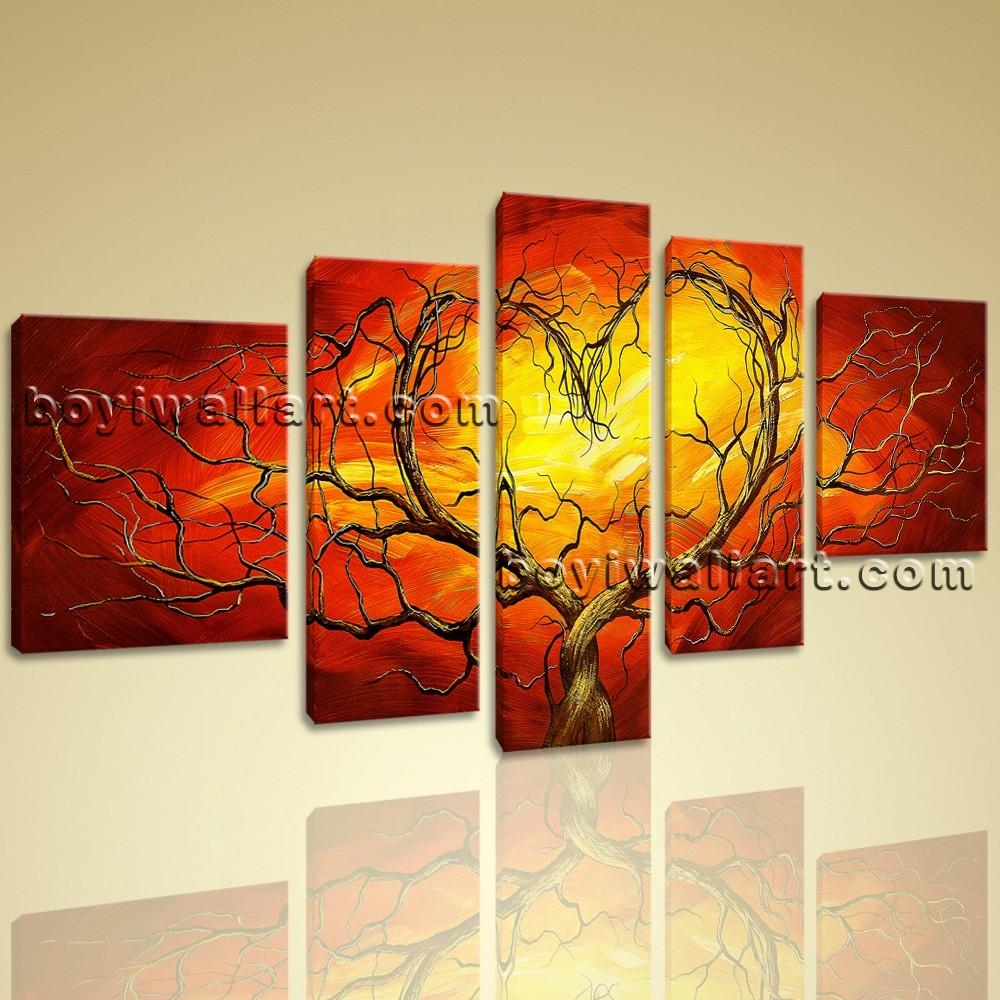 Huge Canvas Giclee Print Modern Abstract Love Tree 5 Panels Framed With Huge Canvas Wall Art (Image 15 of 20)