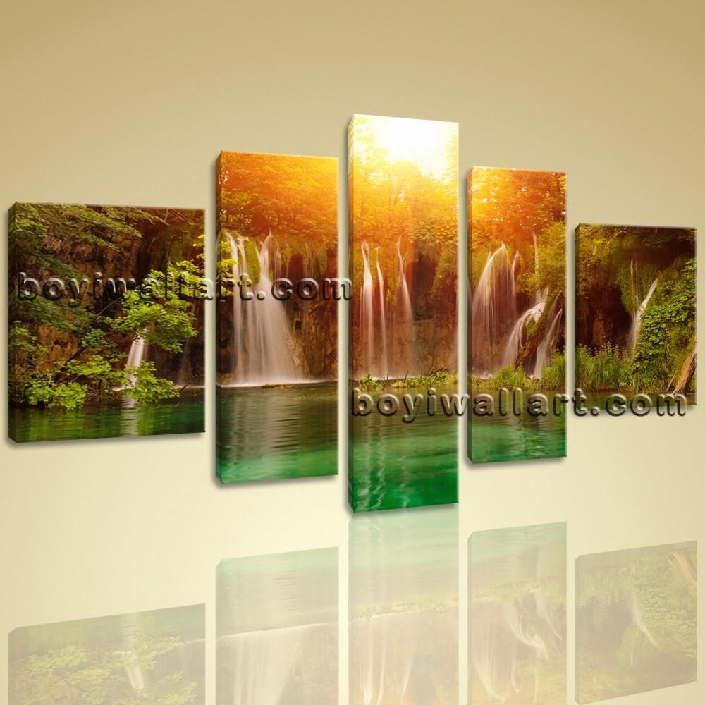 Huge Canvas Lake Hd Waterfall Landscape Tree Forest Sunset Glow Throughout Waterfall Wall Art (View 9 of 20)