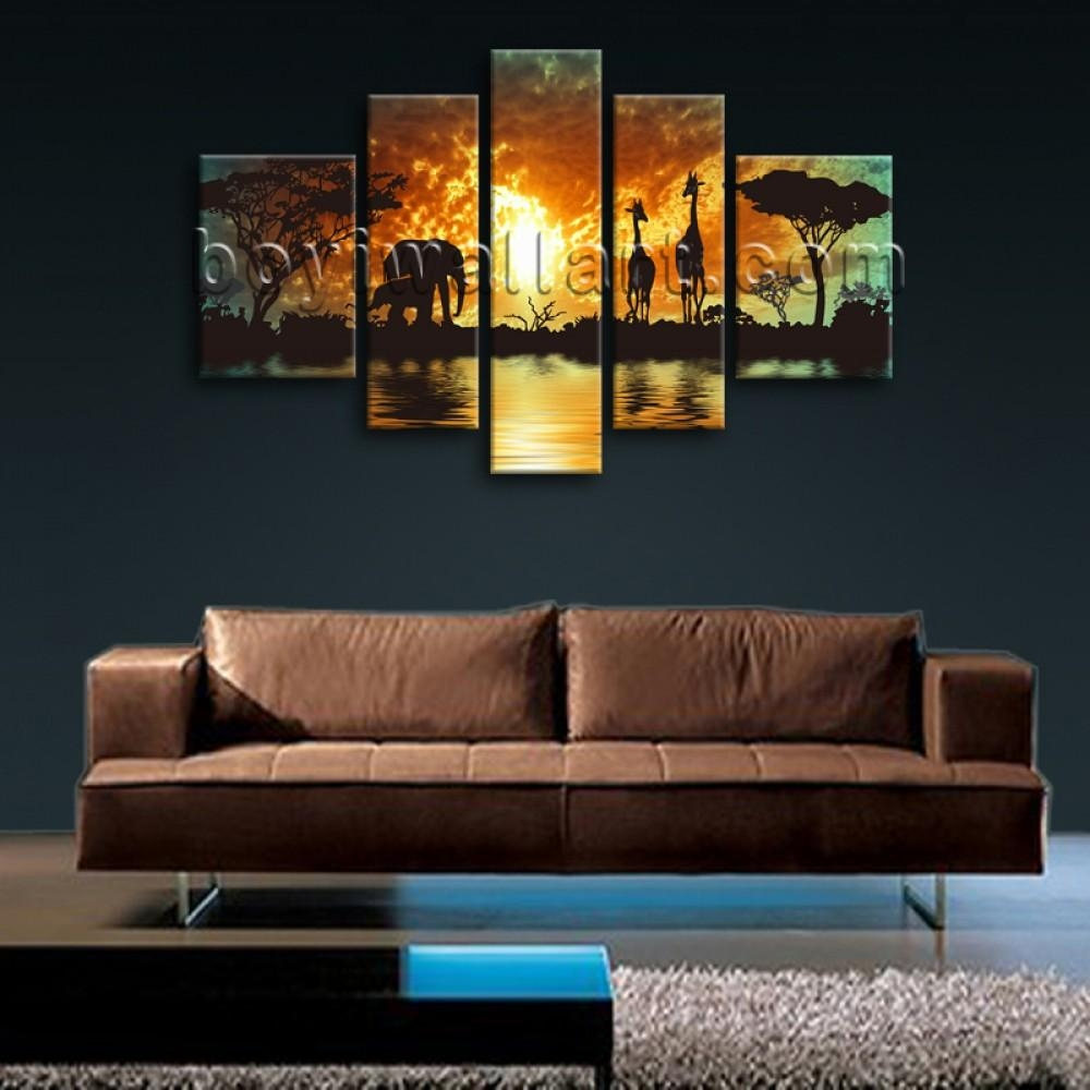 Huge Canvas Print Hd Africa Landscape Tree Elephant Sunset Glow Pertaining To Large Canvas Wall Art Sets (Image 9 of 20)