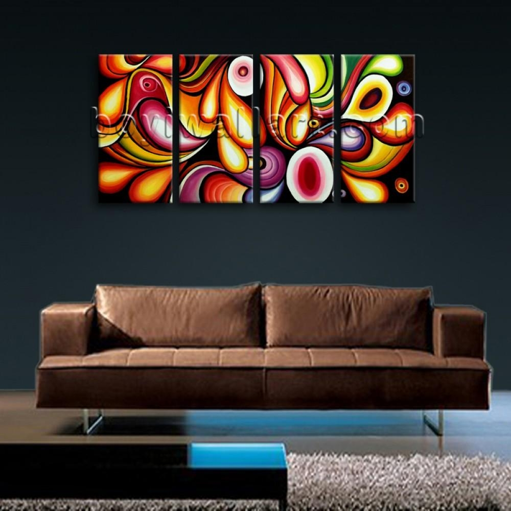 Huge Canvas Print Wall Art Rainbow Colorful Abstract Painting With Regard To Colorful Abstract Wall Art (Image 12 of 20)