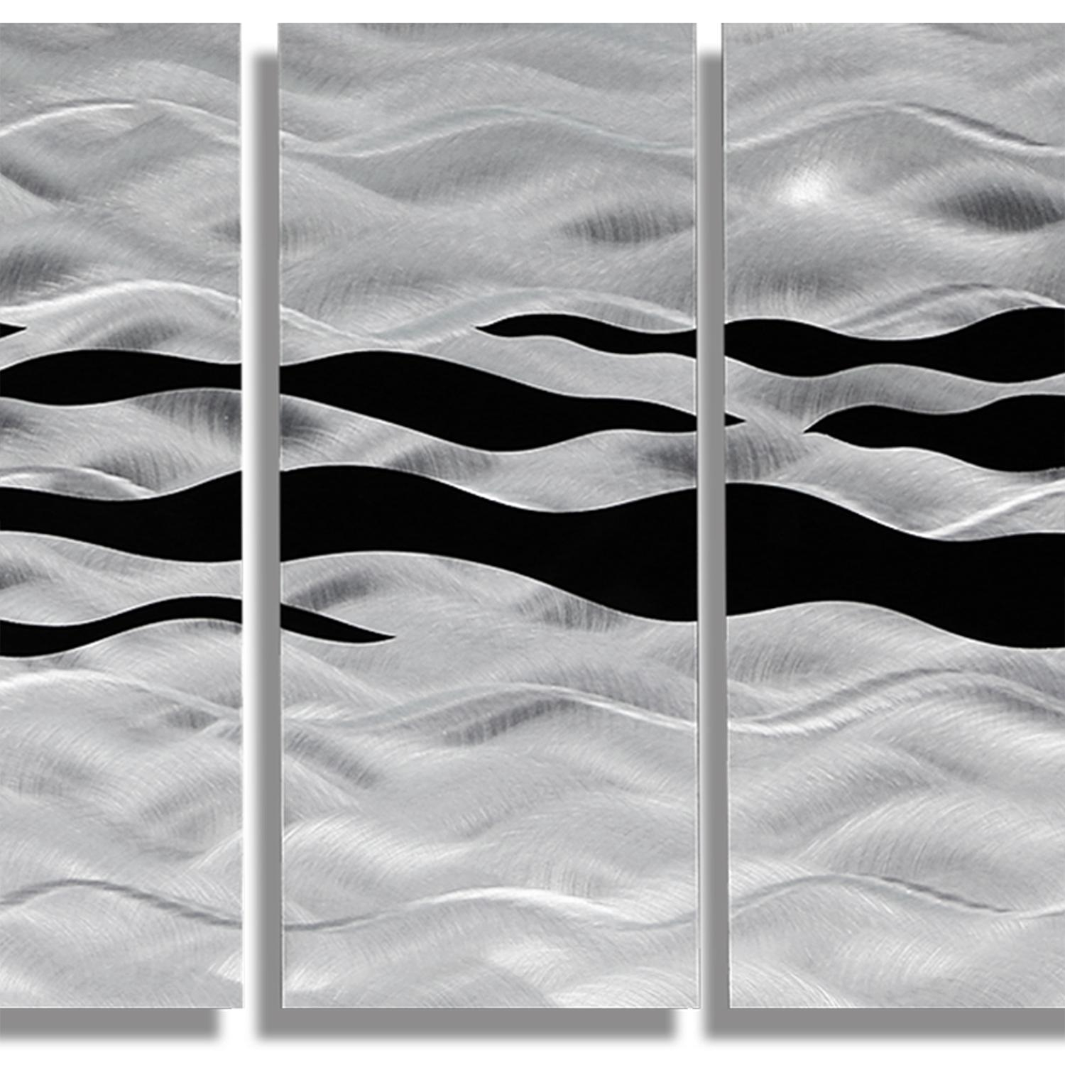 Huge Contemporary Abstract Black/silver Metal Wall Art Decor Inside Black Silver Wall Art (Image 7 of 20)