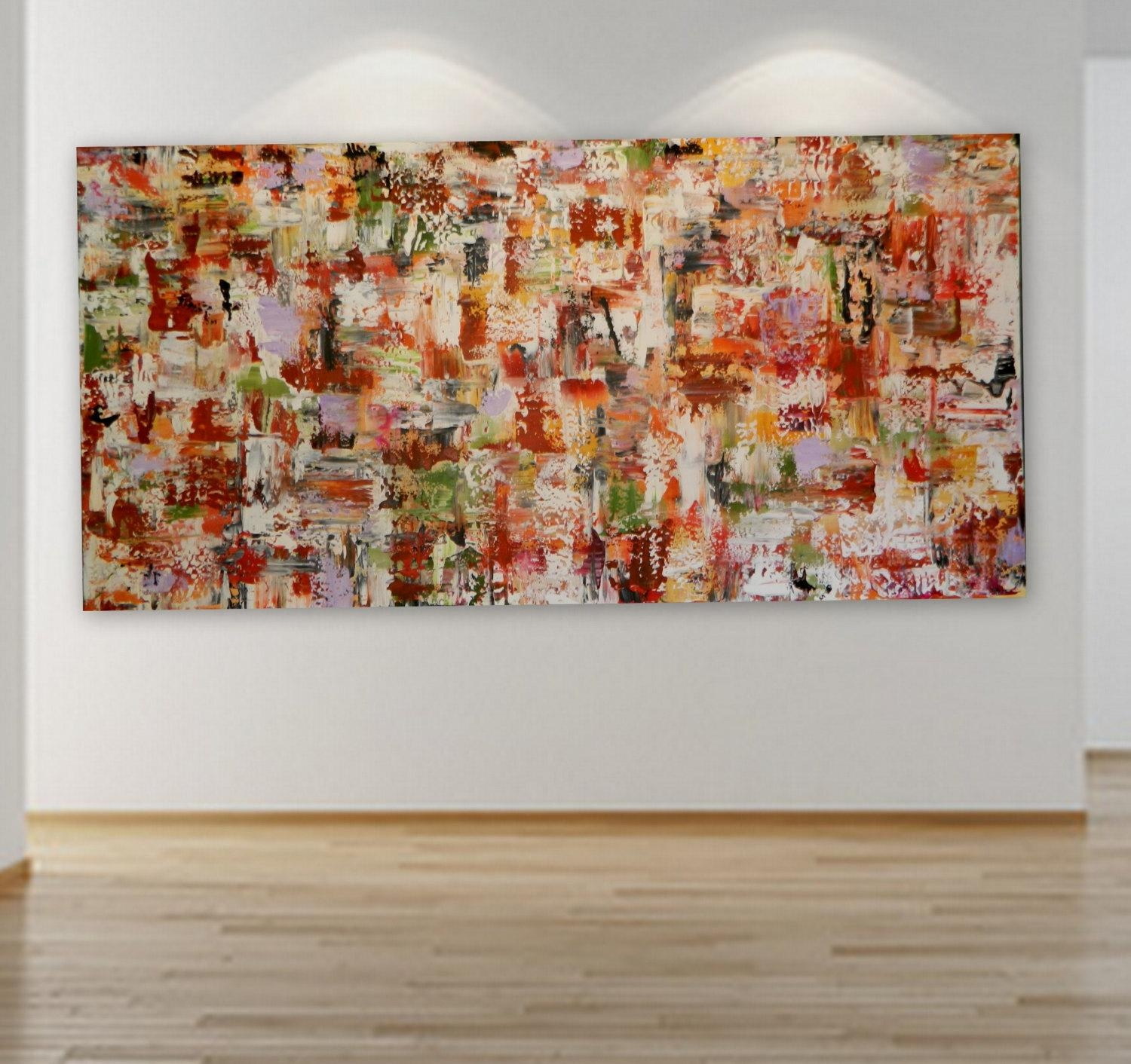 Huge Grande Original Abstract Painting Wall Art Decor Red Yellow Regarding Red And Yellow Wall Art (Image 11 of 20)
