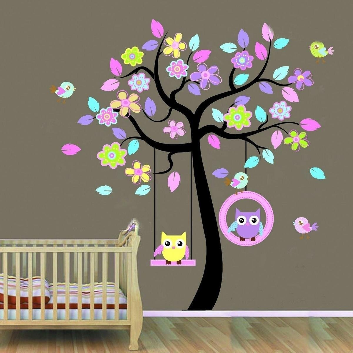 Huge Removable Swing Owl & Birds Colorful Scroll Tree Wall Art Pertaining To Owl Wall Art Stickers (View 10 of 20)