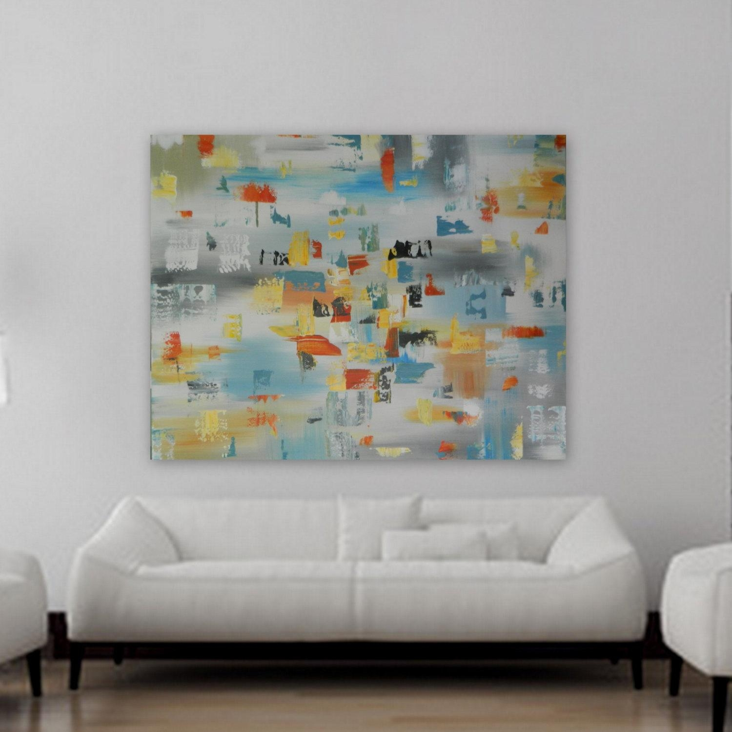 Huge Xl Origianl Abstract Painting Contemporary Mondern Wall Art throughout Orange And Turquoise Wall Art