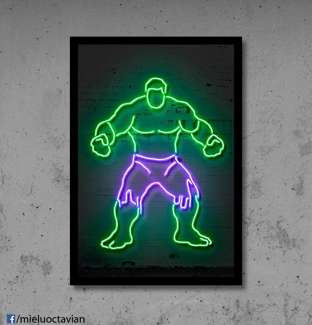 Hulk Wall Art Hulk Nursery Hulk Neon Superhero Wall Décor Kids throughout Superhero Wall Art For Kids