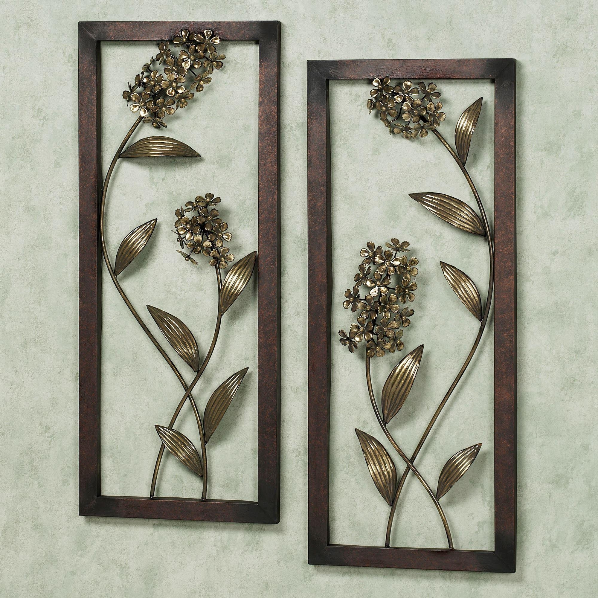Hydrangea Glow Metal Wall Art Panel Set Throughout Wooden Wall Art Panels (View 13 of 20)