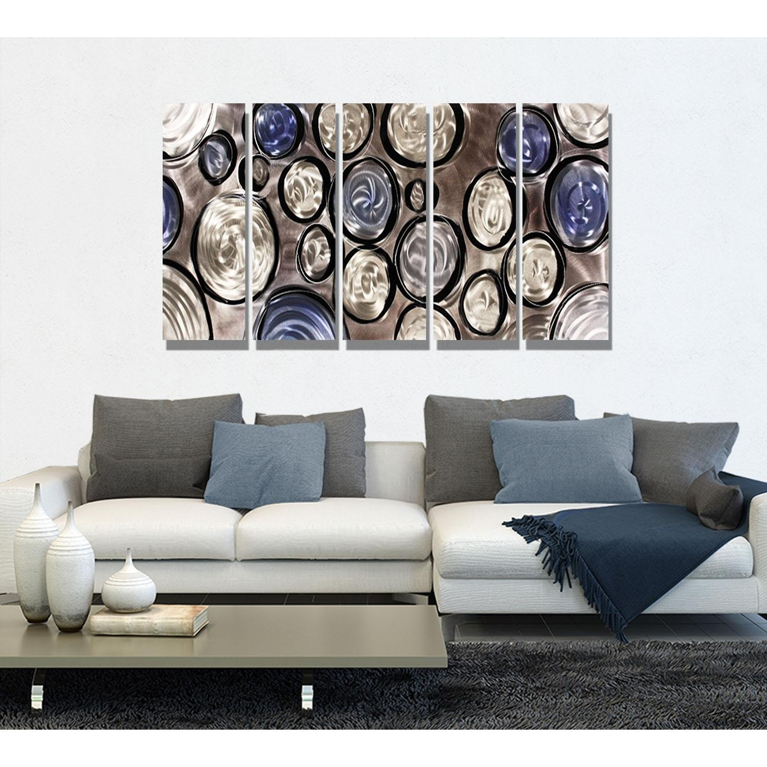 Hygge - Silver, Blue And Black Metal Wall Art - 5 Panel Wall Décor in Blue And Silver Wall Art