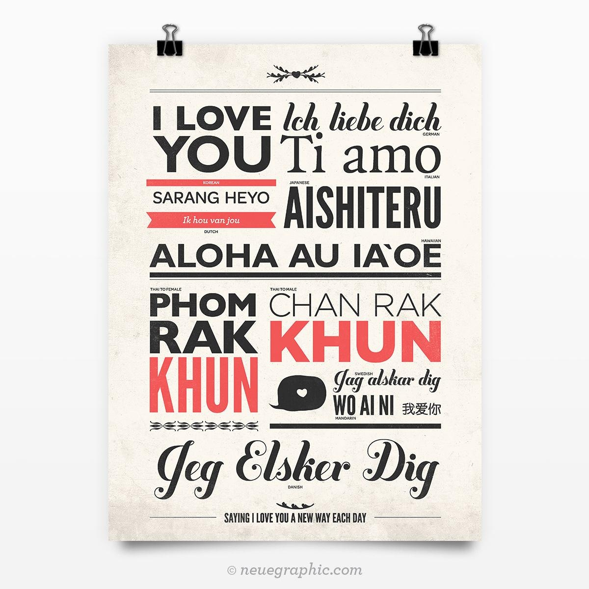 I Love You In Different Languages Vintage Typography Poster in Wo Ai Ni in Chinese Wall Art